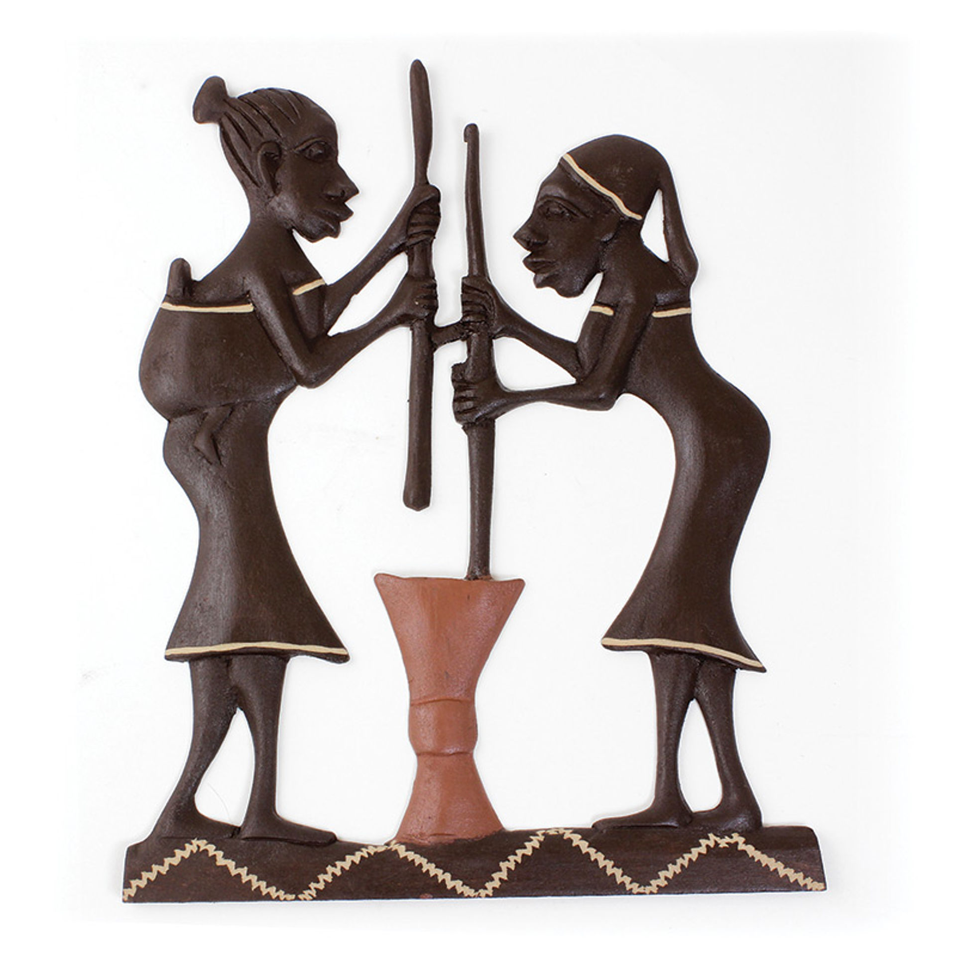 Picture of African Women Working Wood Plaque