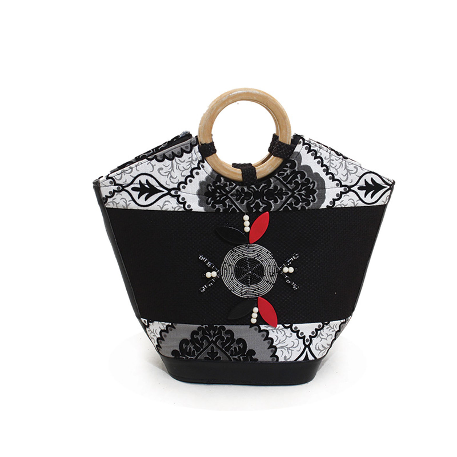 Picture of Leather Handbag - Black & White