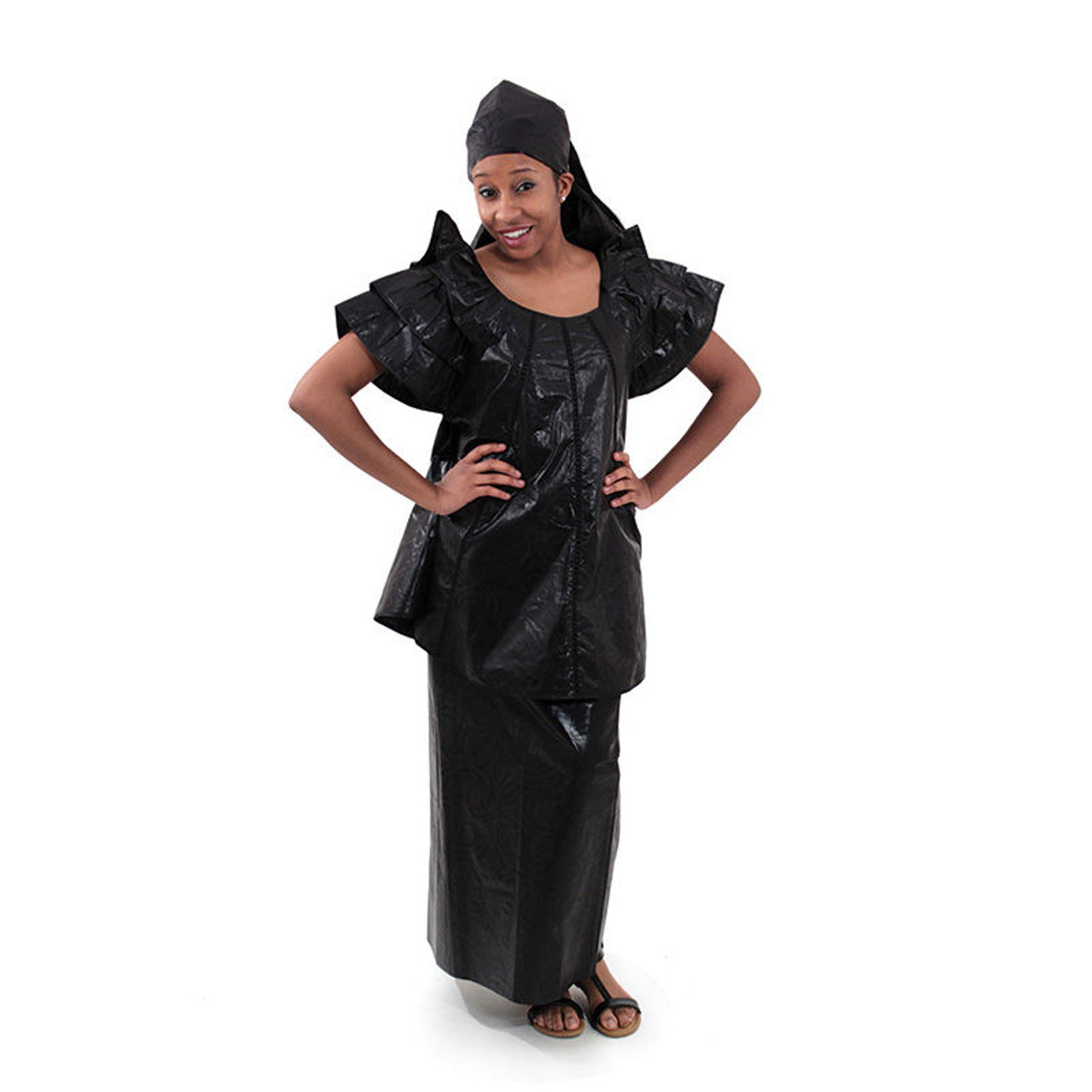 Picture of Black Brocade Pleated Skirt Set