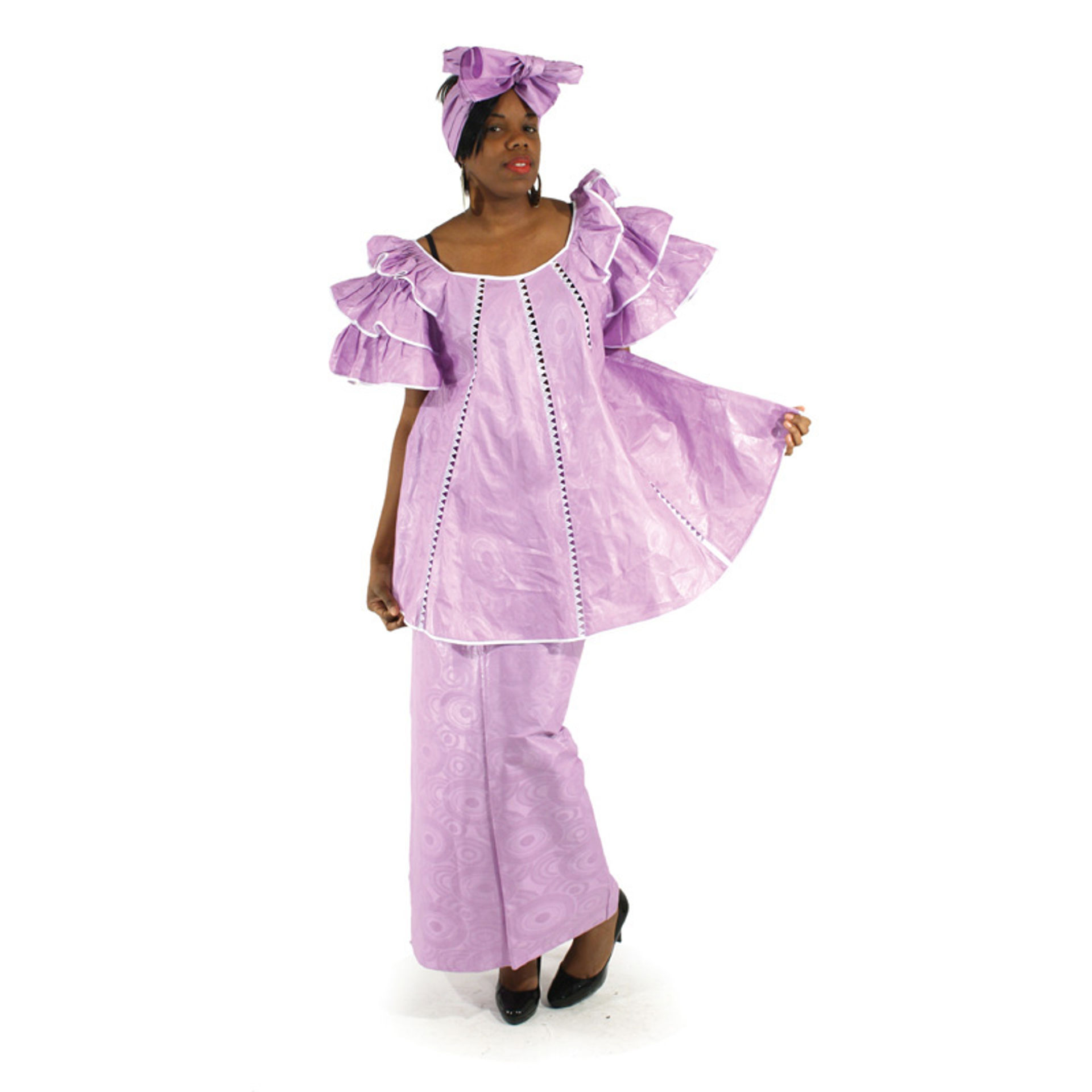 Picture of Lilac Brocade Pleated Skirt Set