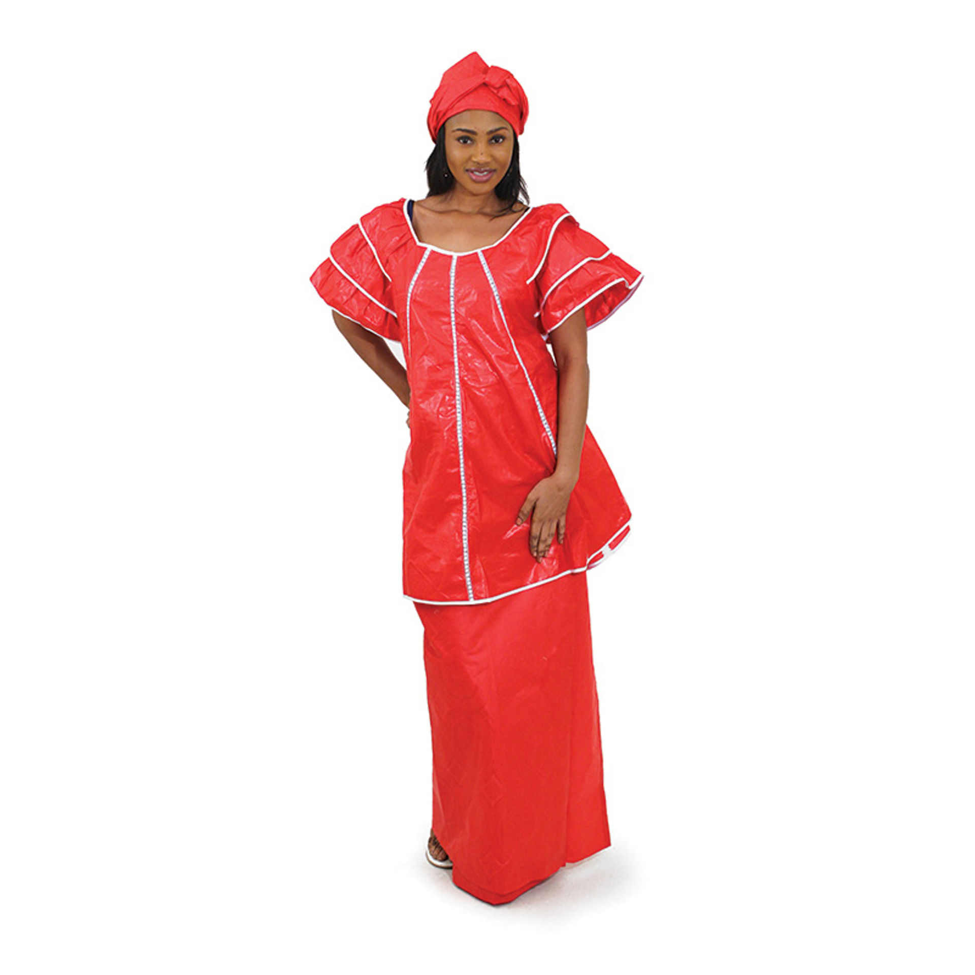 Picture of Red Brocade Pleated Skirt Set