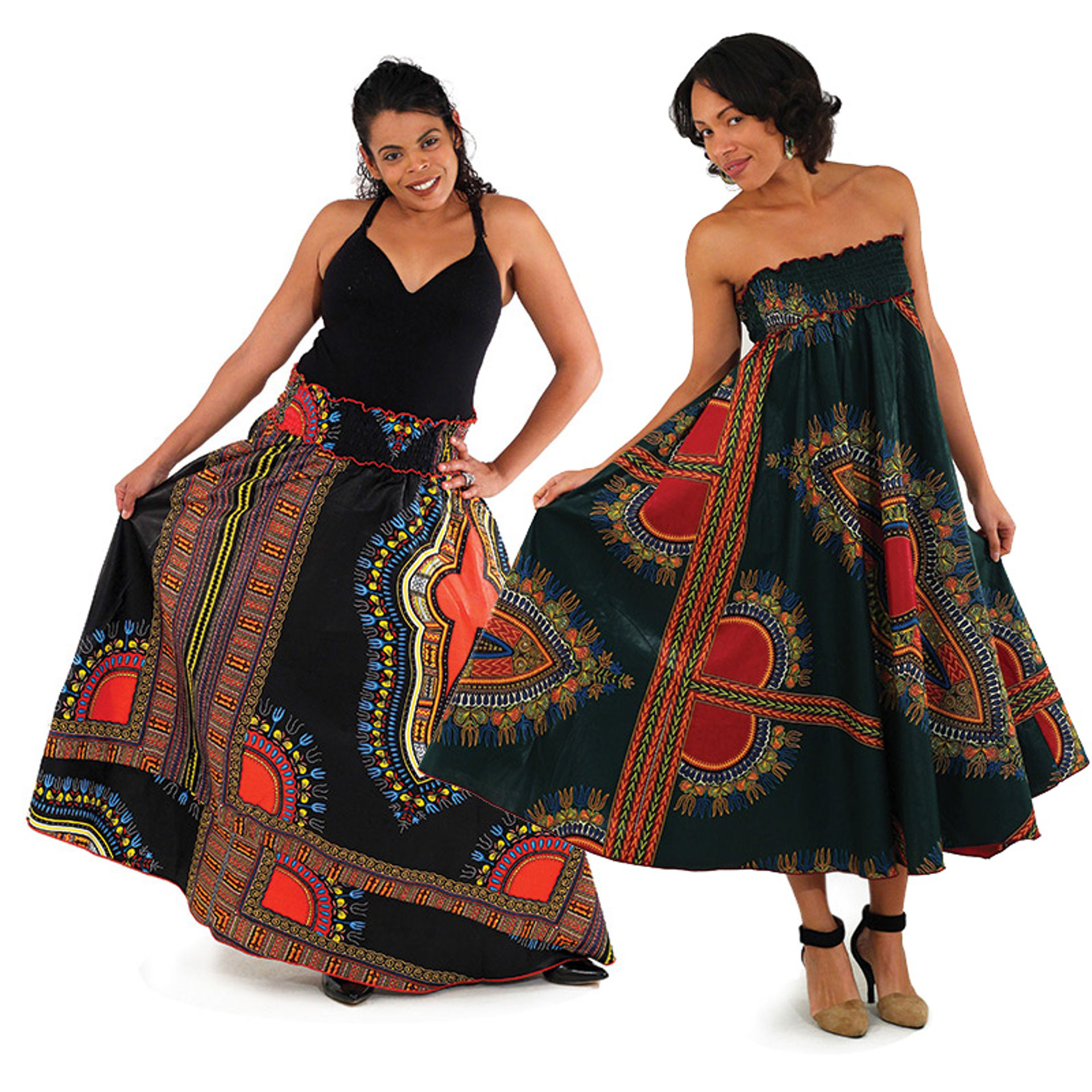 Picture of Traditional Print Long A-Line Skirt