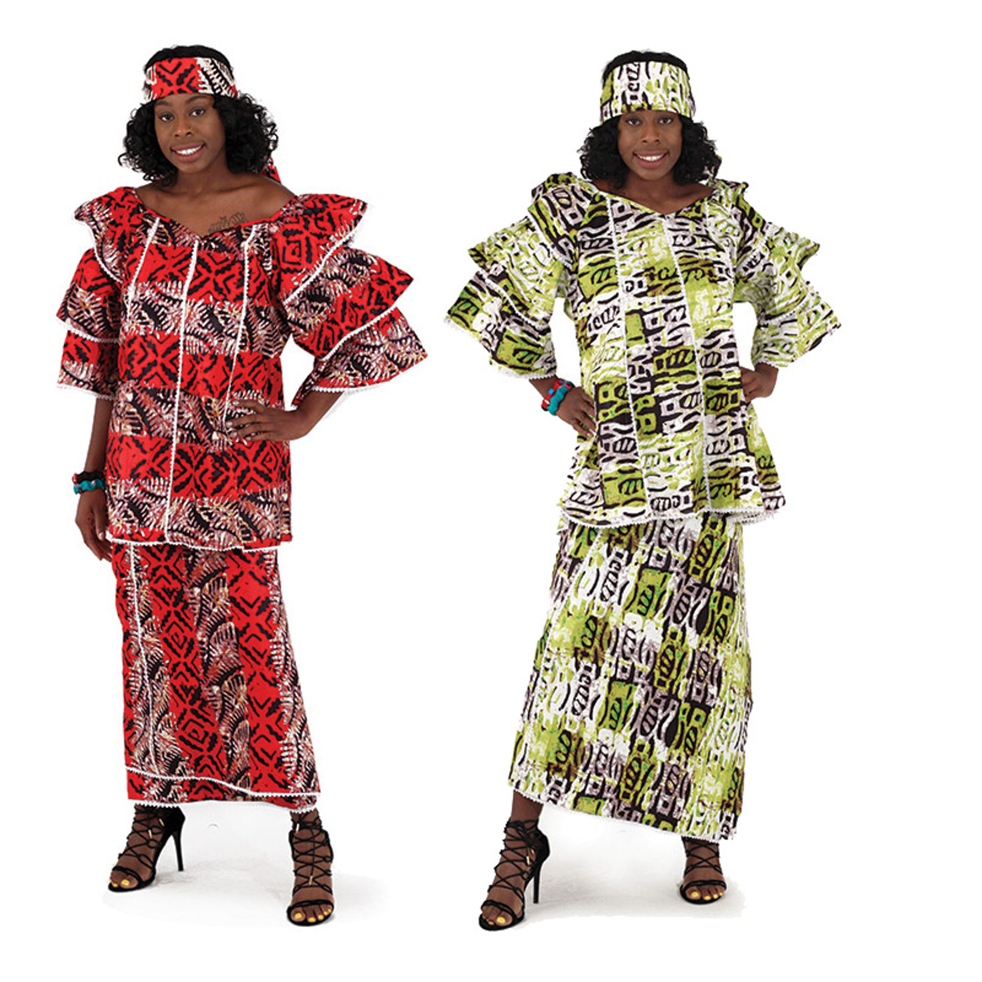 Picture of Layered African Mud Print Skirt Set: