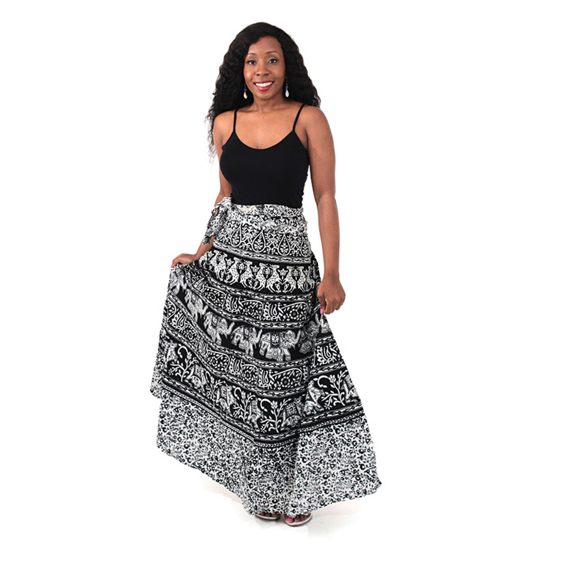 Picture of Animal Wrap Skirt: Black & White