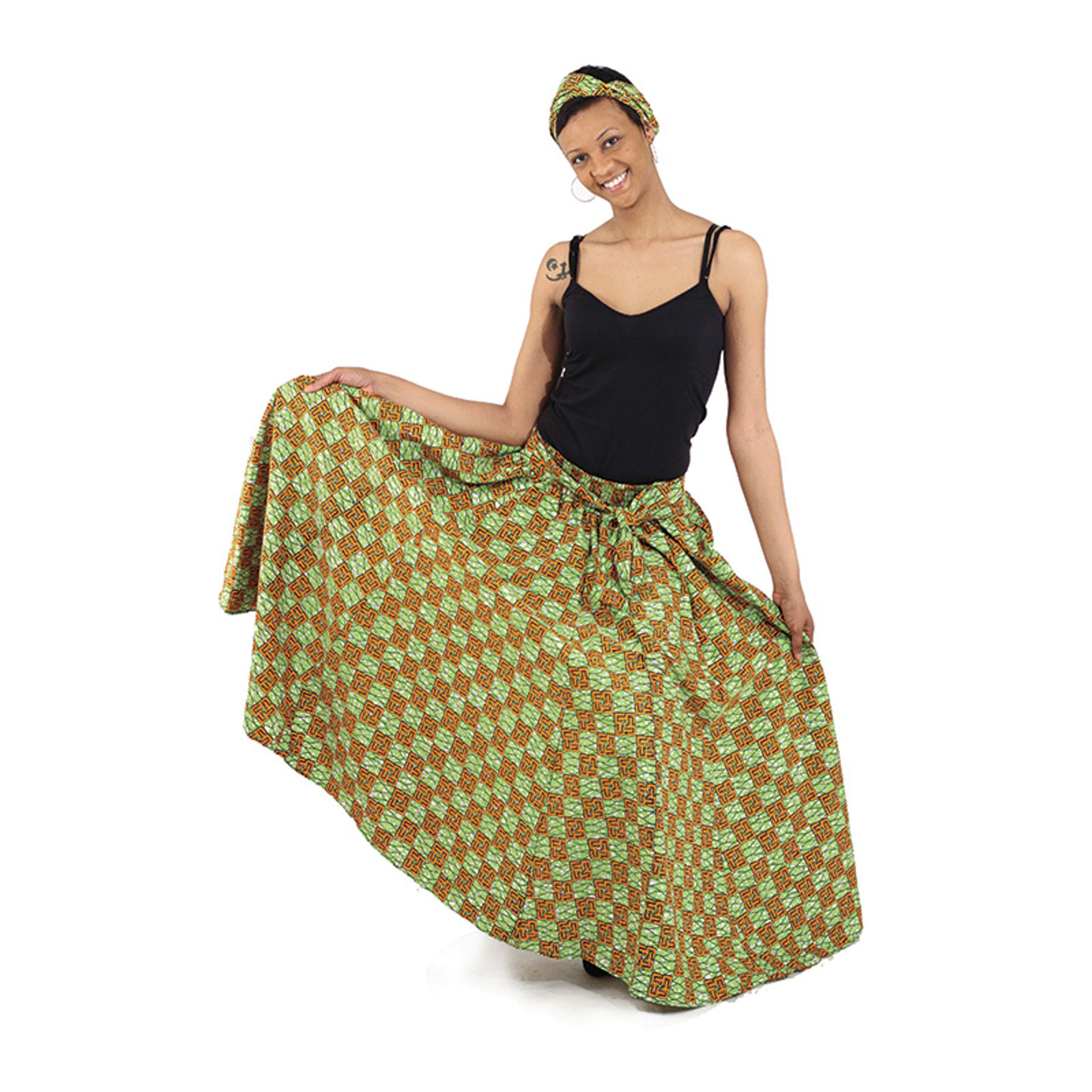 Picture of African Print Long Skirt - Lime/Orange