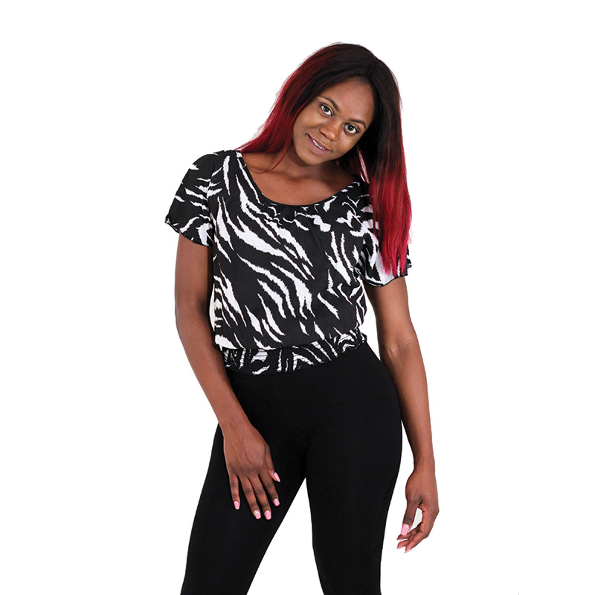 Picture of Black & White Animal Print Blouse