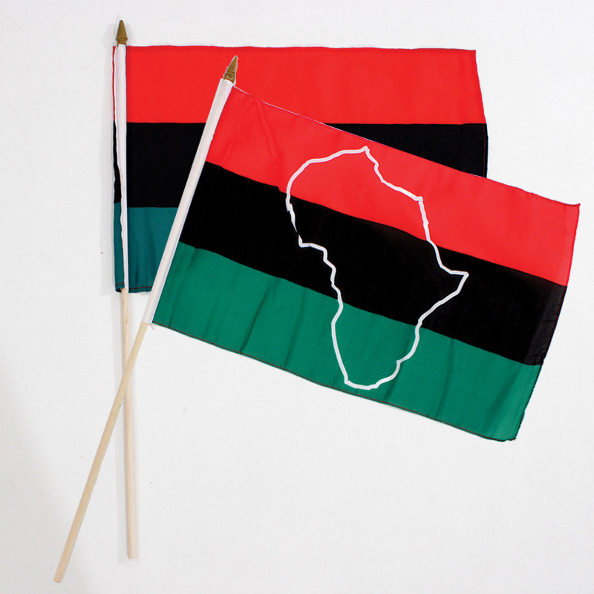 """Picture of 12x18"""" African American Stick Flag"""