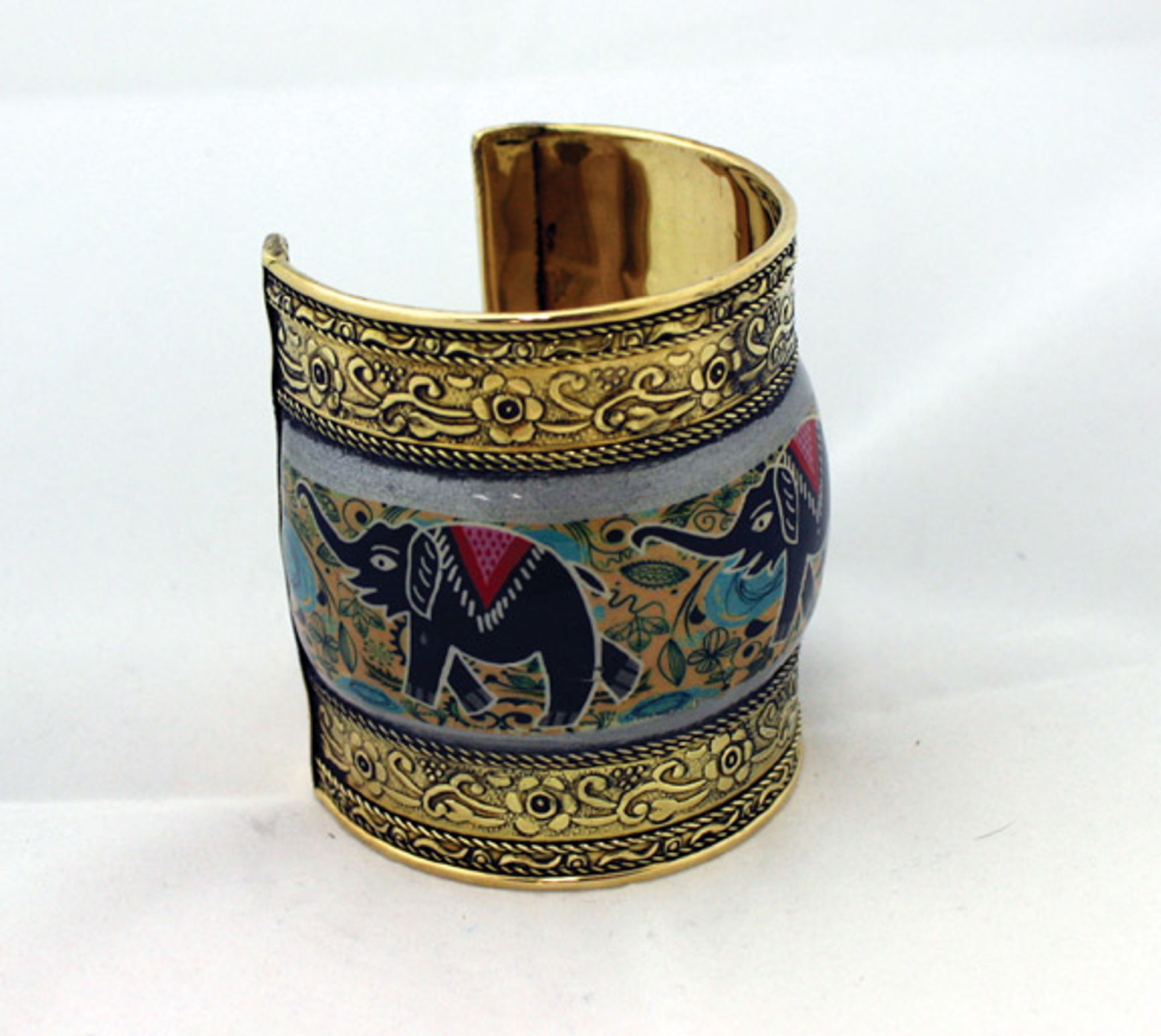 Picture of Painted Brass Cuff: Elephants