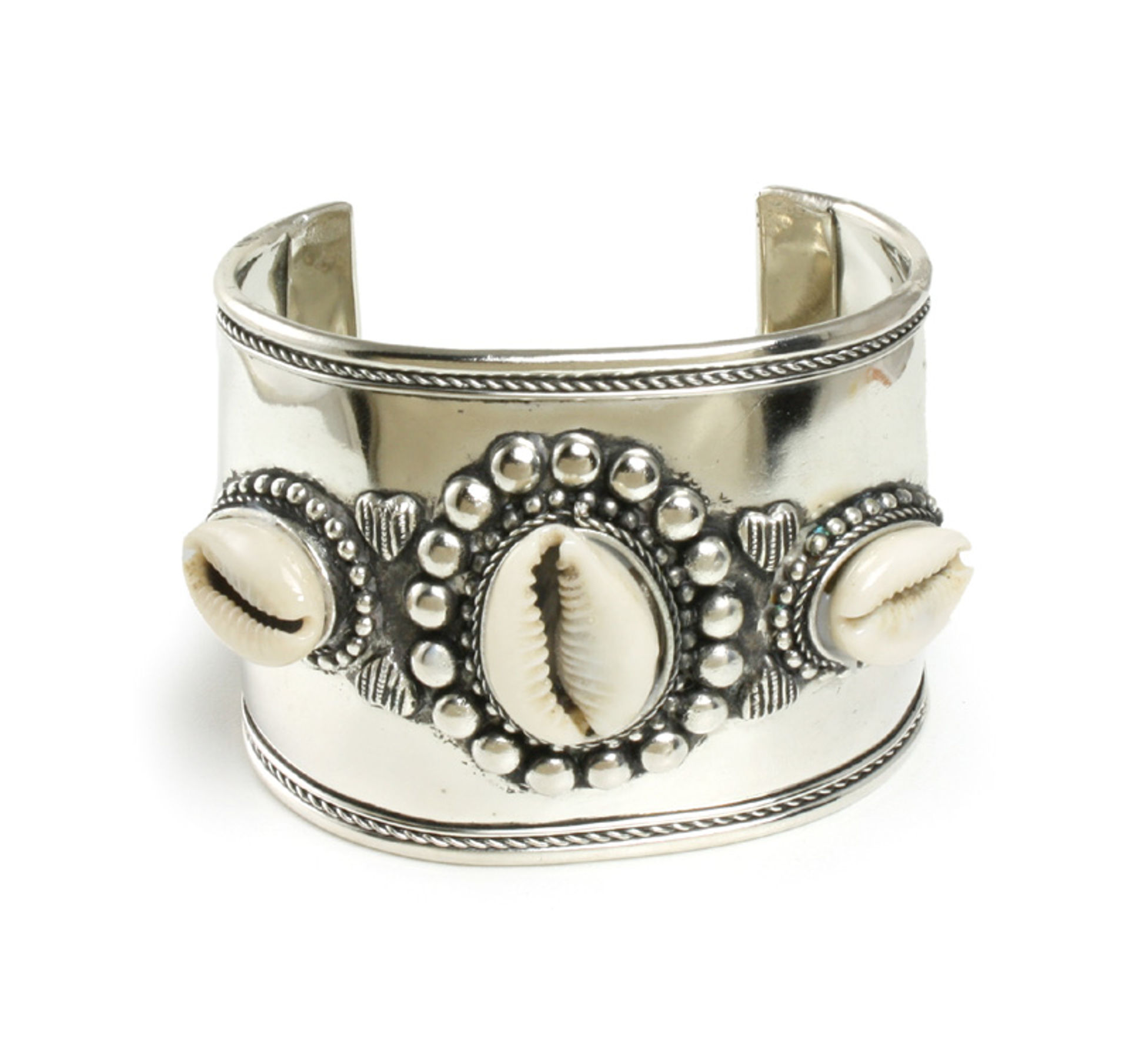 Picture of Wide Band Silver Cowrie Shell Bracelet