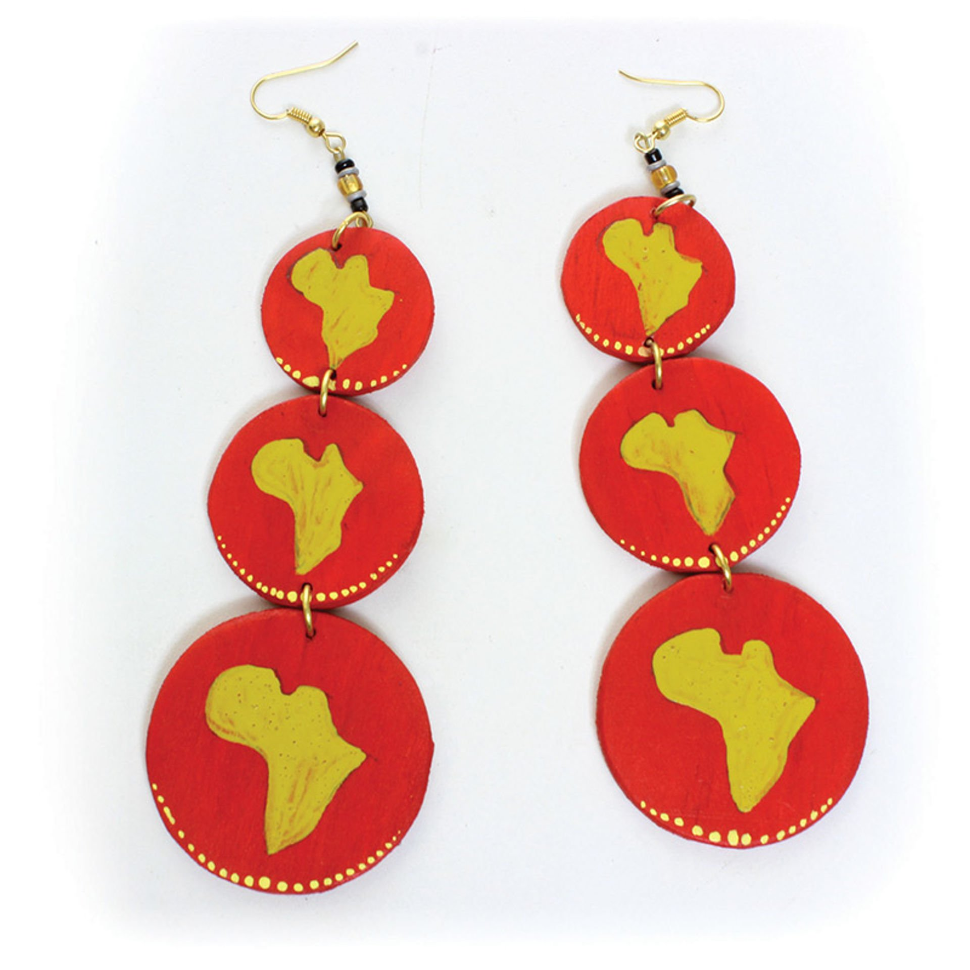 Picture of Red Wooden Map-Of-Africa Earrings