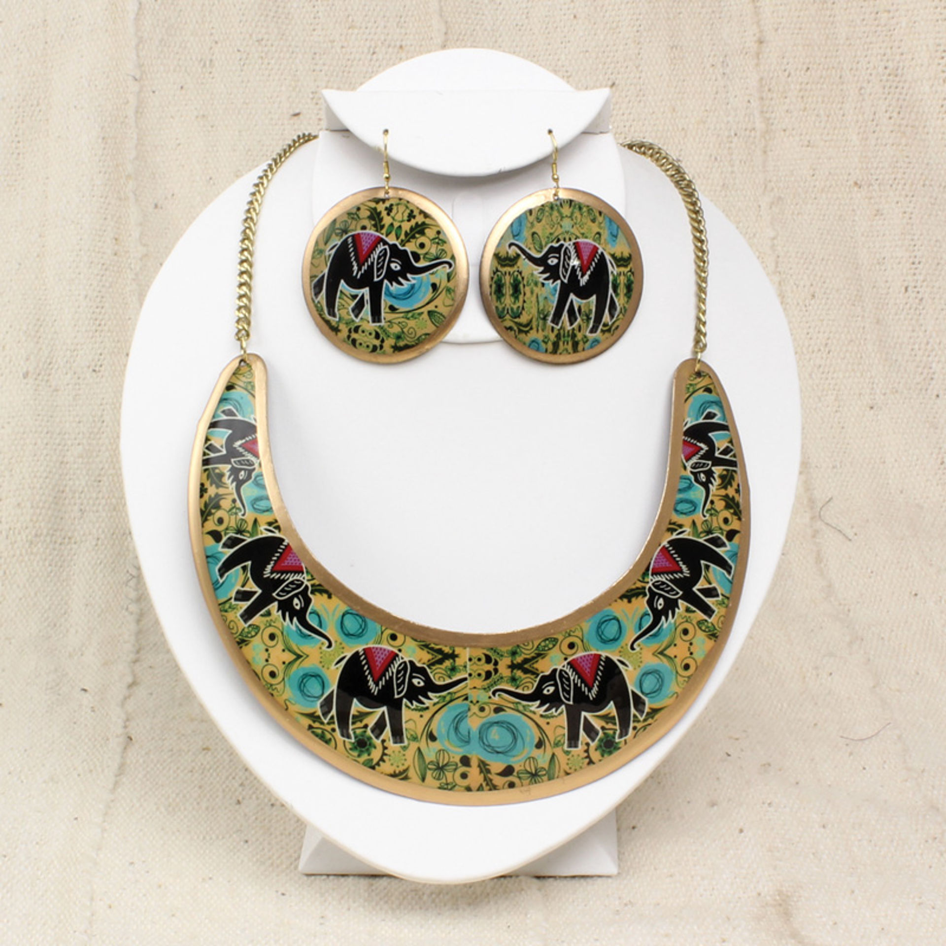 Picture of Empress Necklace & Earring Set: Elephant