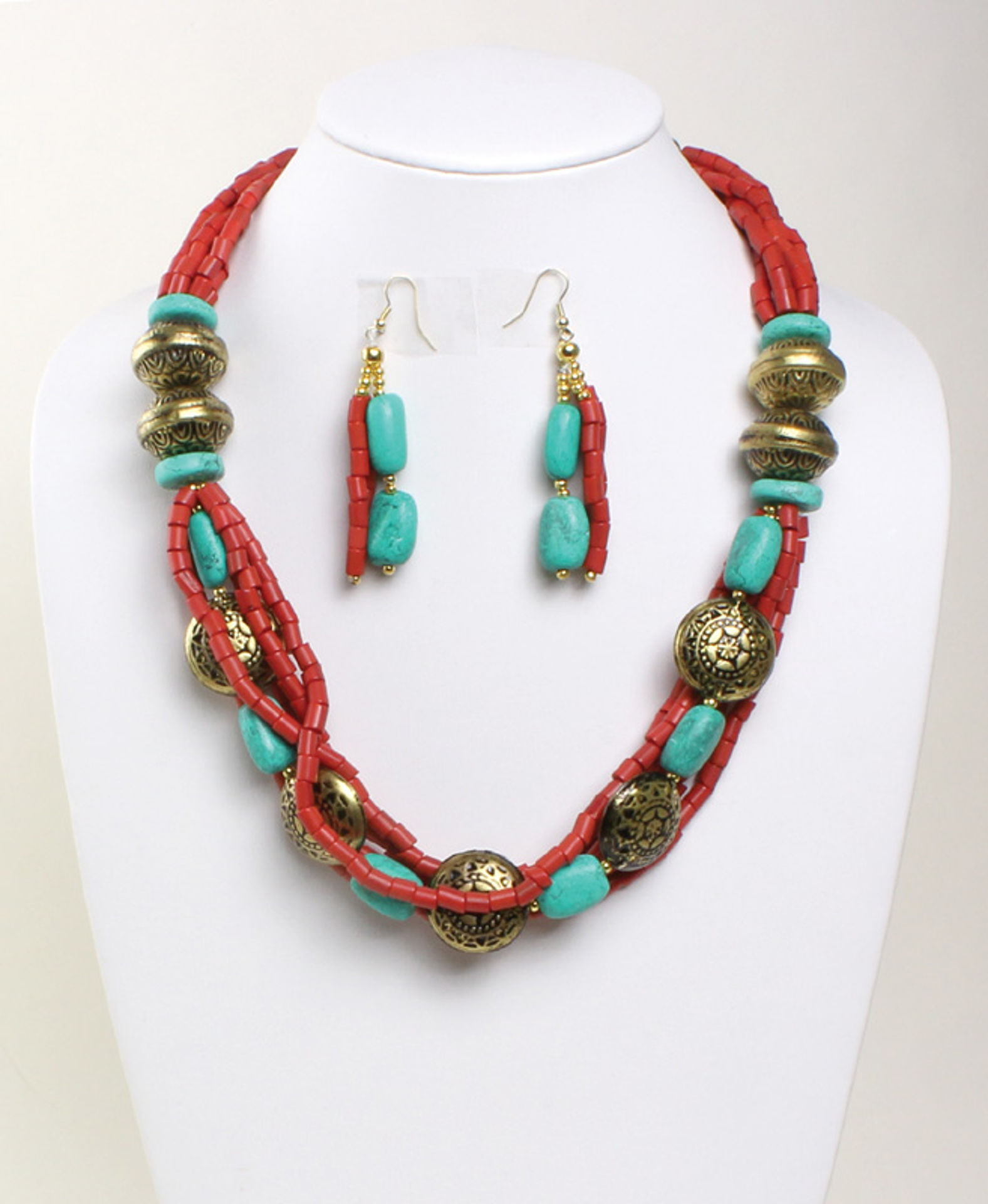 Picture of Beaded Temple Necklace & Earrings