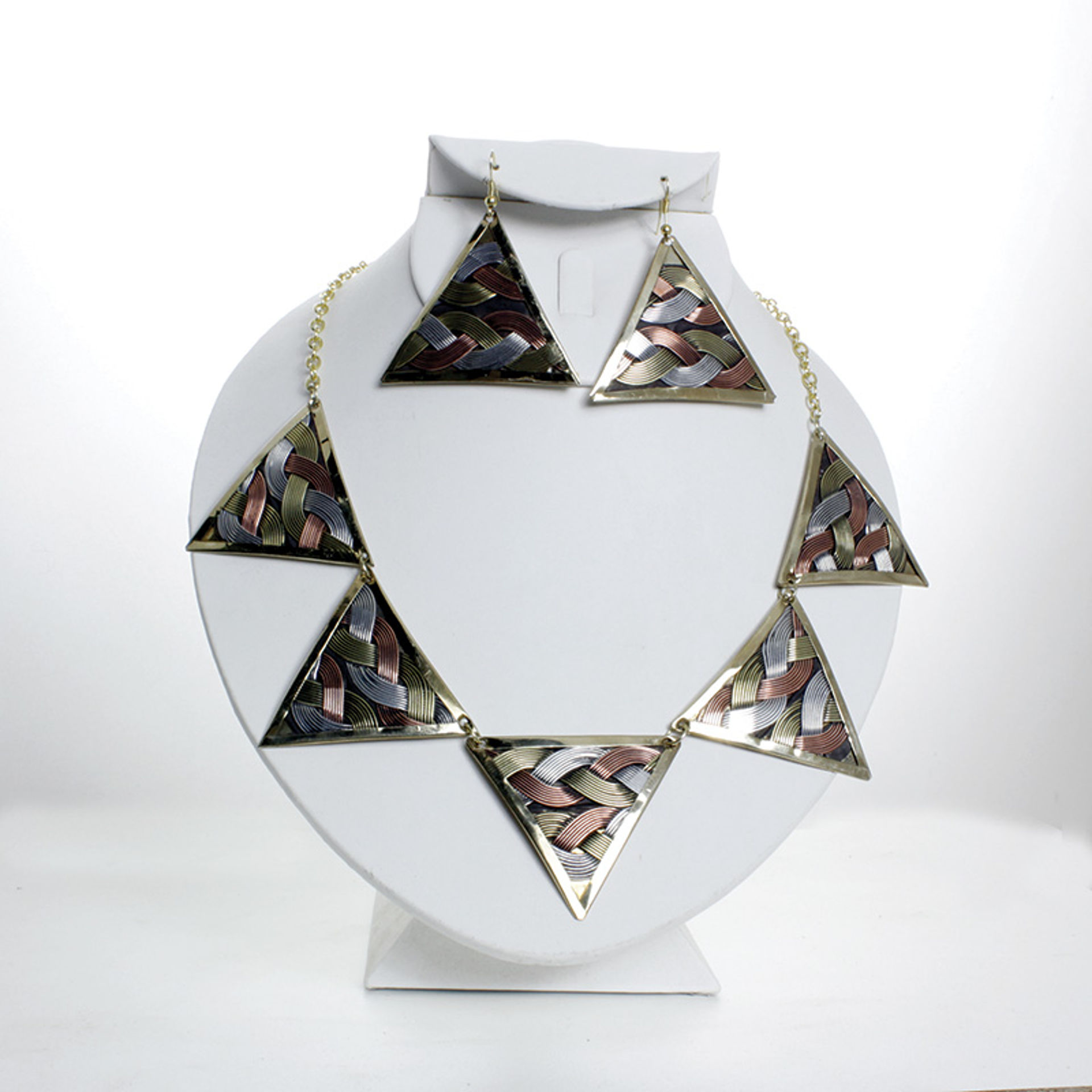 Picture of Tri-Metal Necklace Set: Triangle