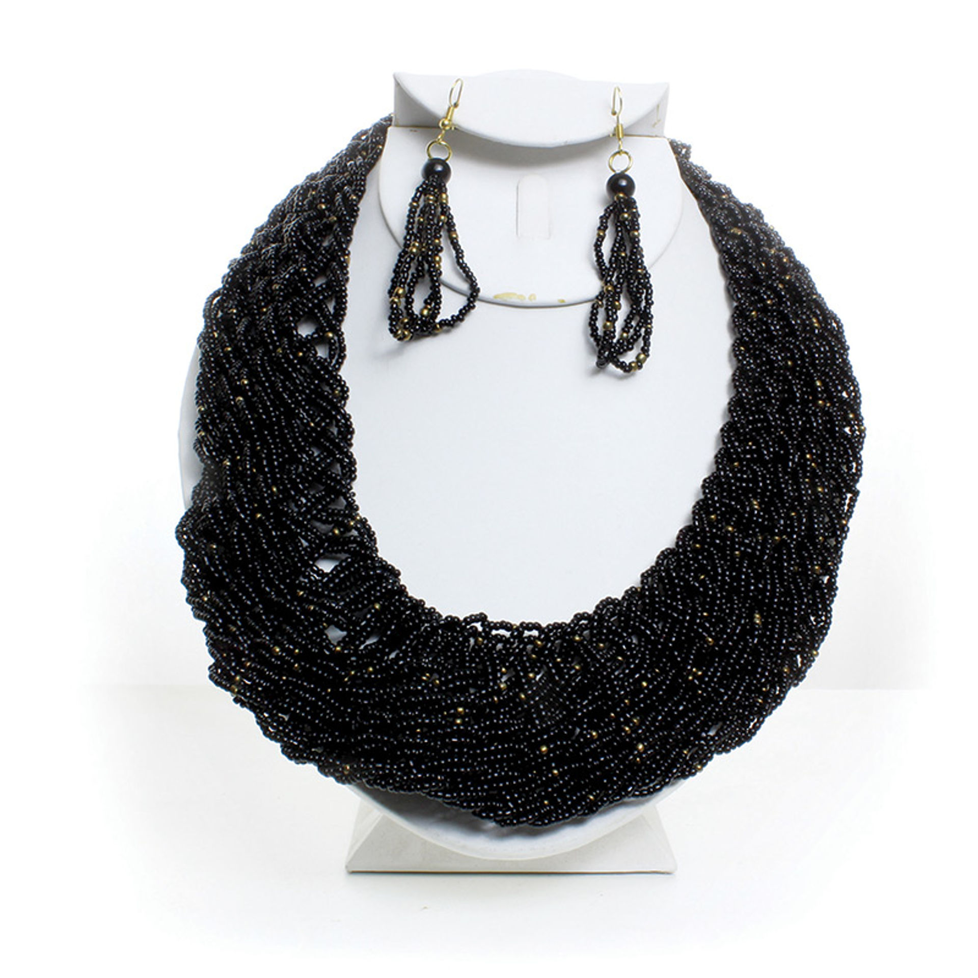 Picture of Black Maasai Beaded Twist Necklace Set