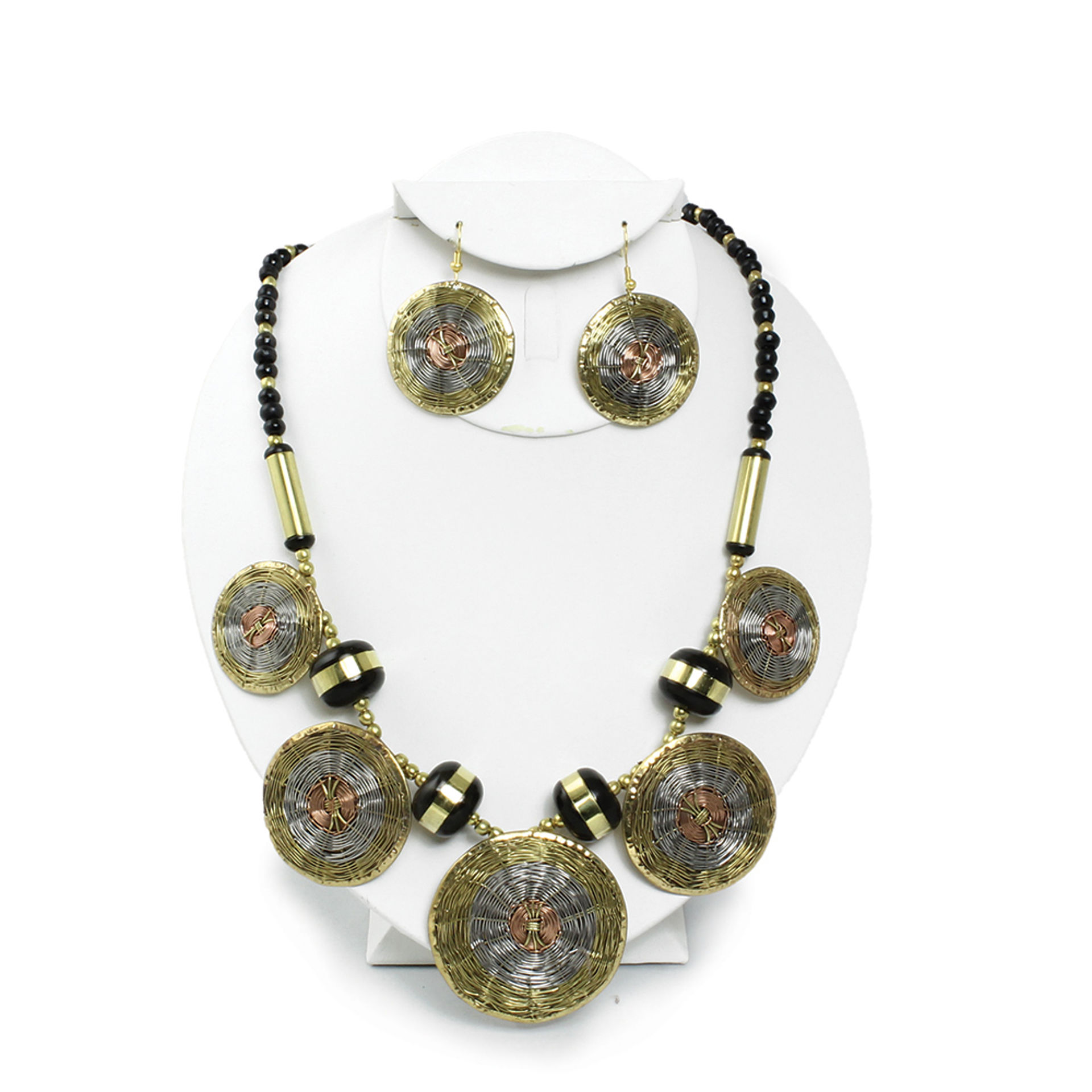 Picture of Woven Brass Necklace & Earrings Set