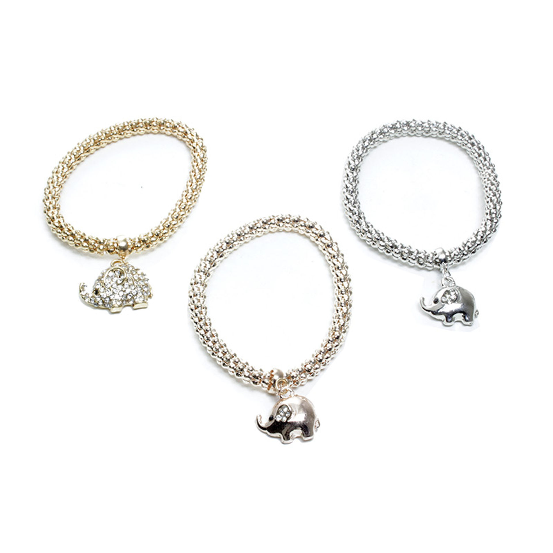 Picture of Set Of 3 Elephant Charm Chain Bracelets