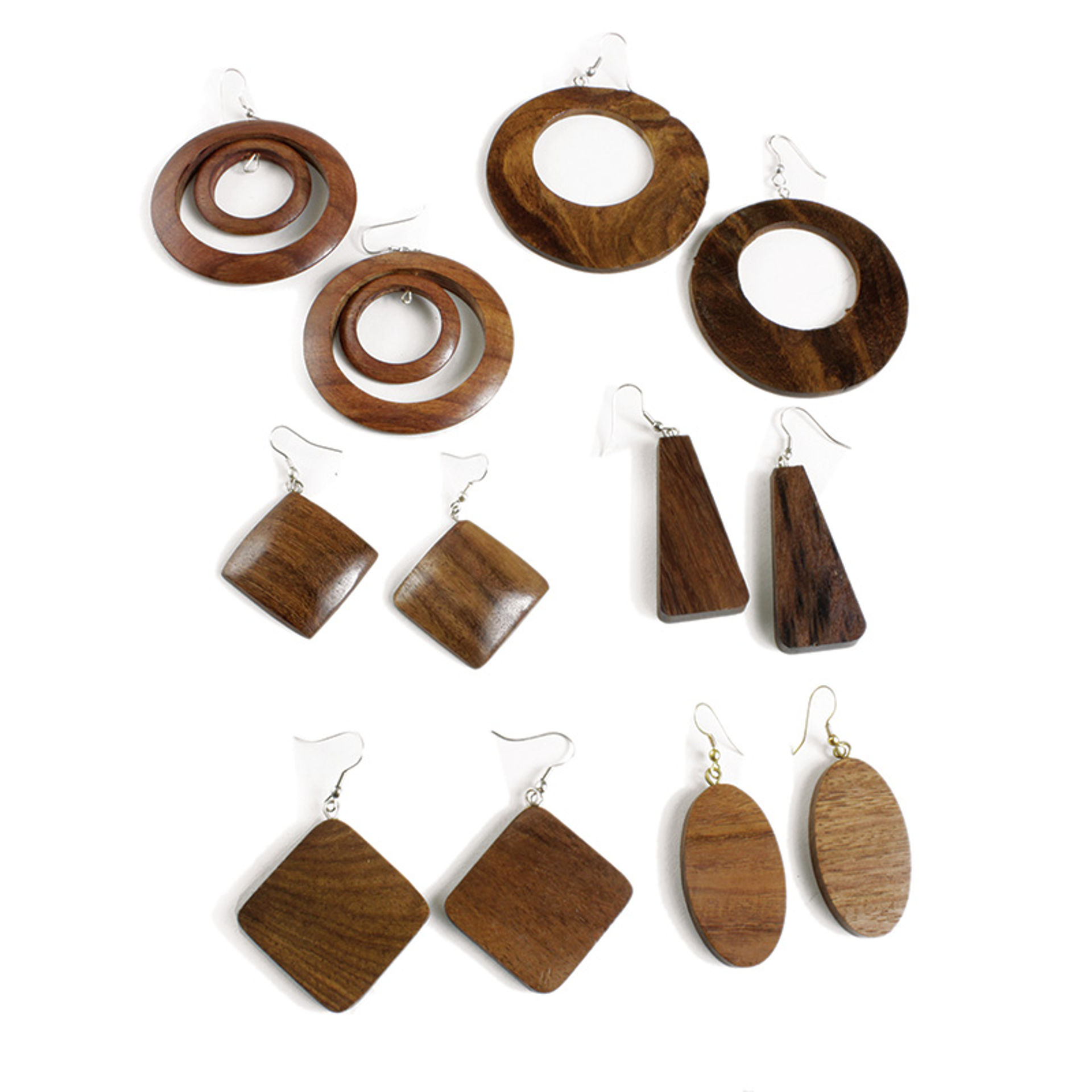 Picture of Set Of 6 Wooden Earrings