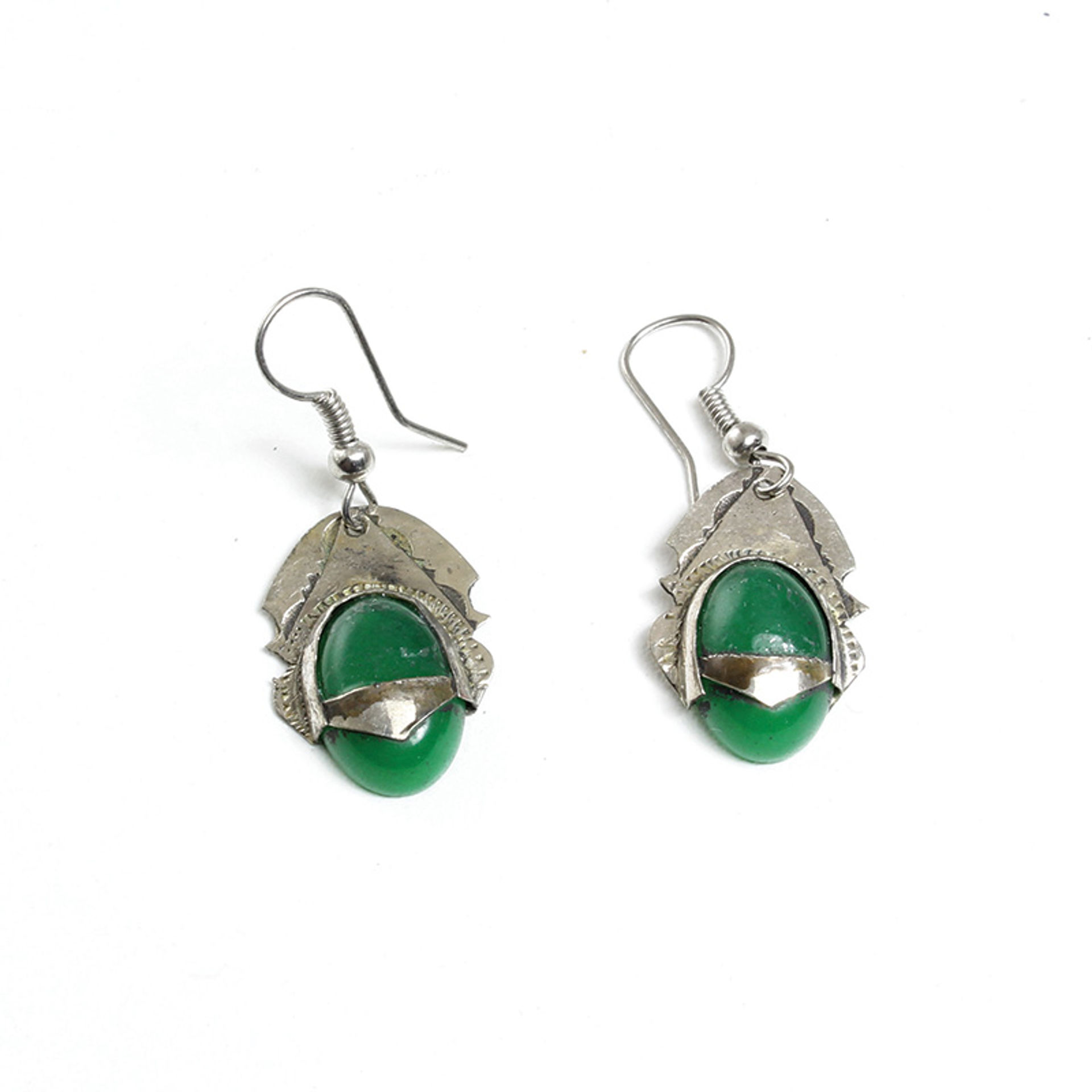 Picture of Tuareg Silver Earrings w/Green Gem