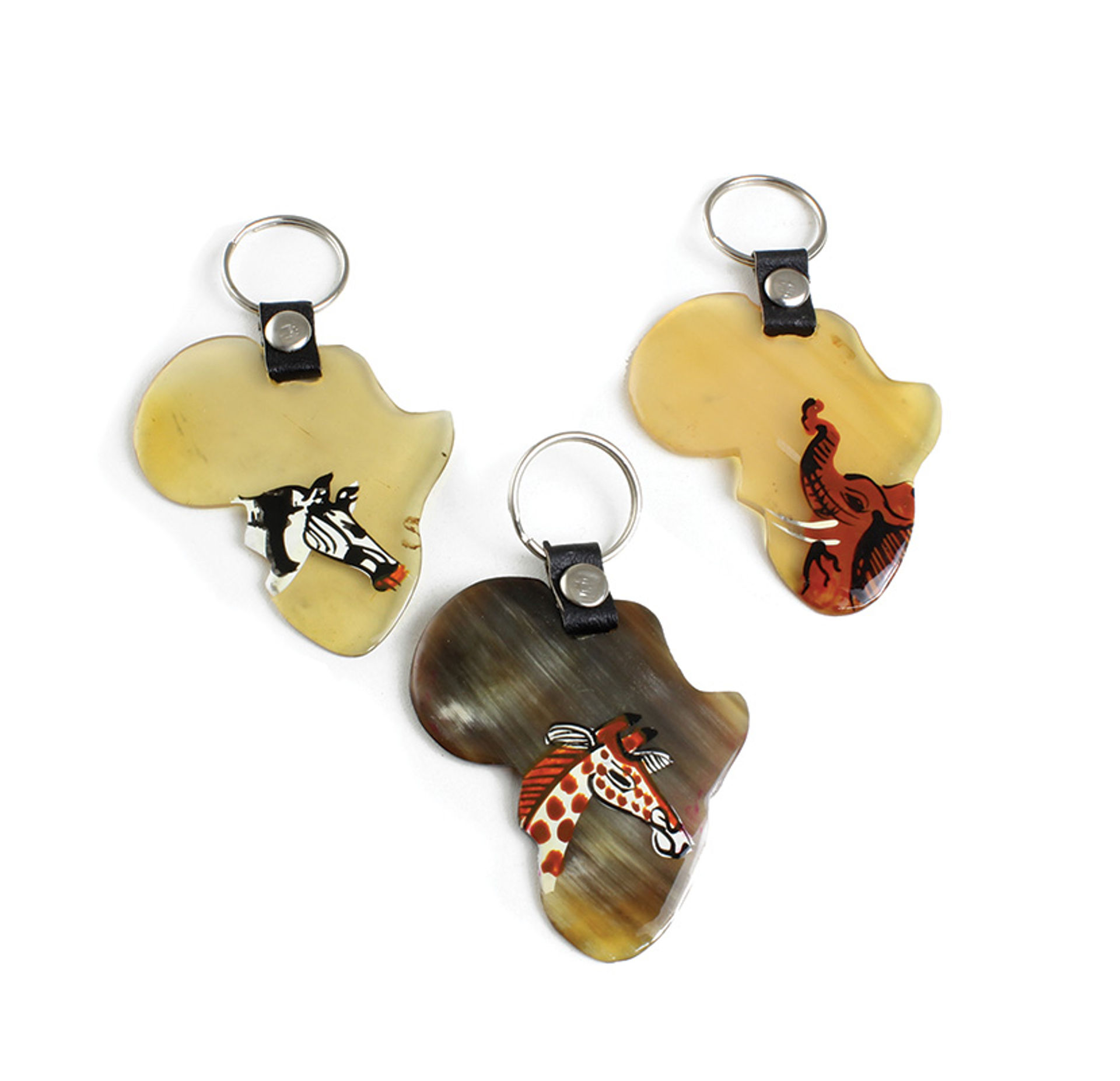 Picture of Bone Africa Map Animal Key Chain
