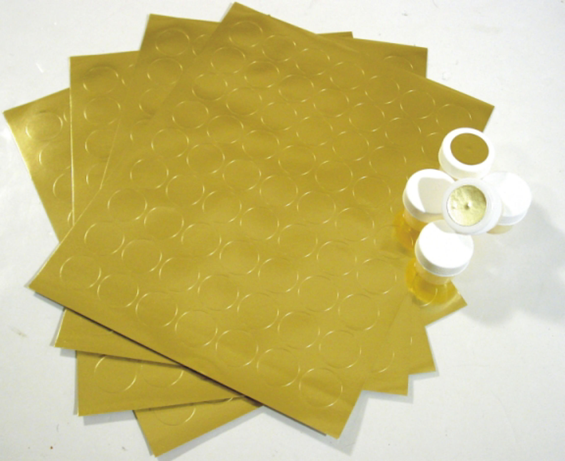 "Picture of 10 Sheets Of Round Gold Labels - 1"" Ø"