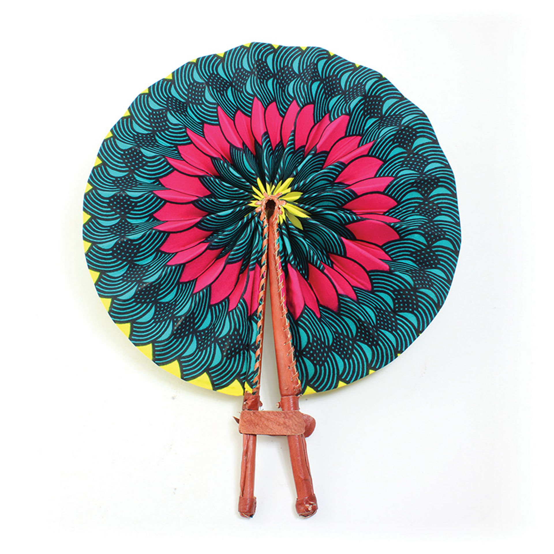 Picture of African Floral Leather Folding Fan