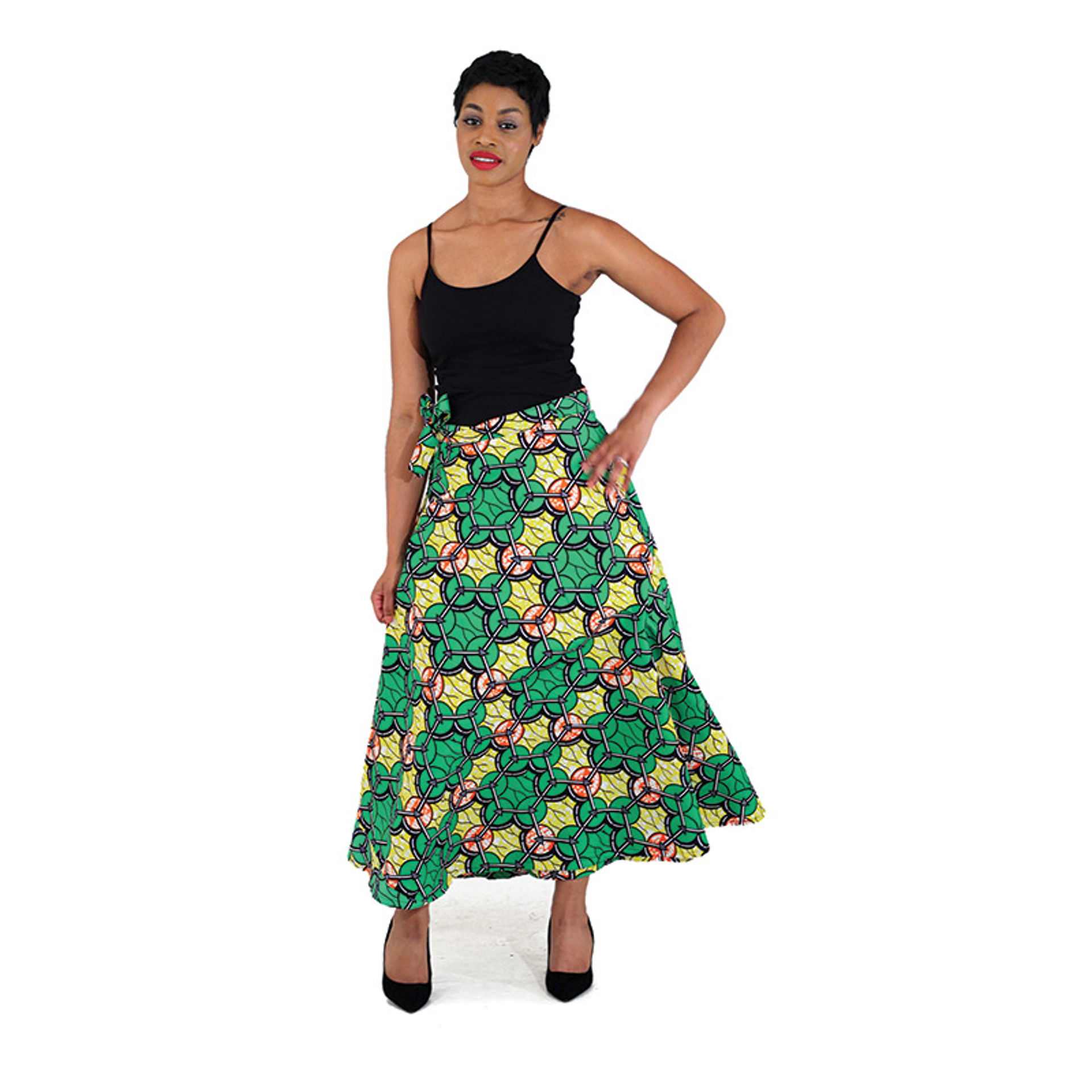 Picture of African Print Wrap Skirt - Yellow/Green