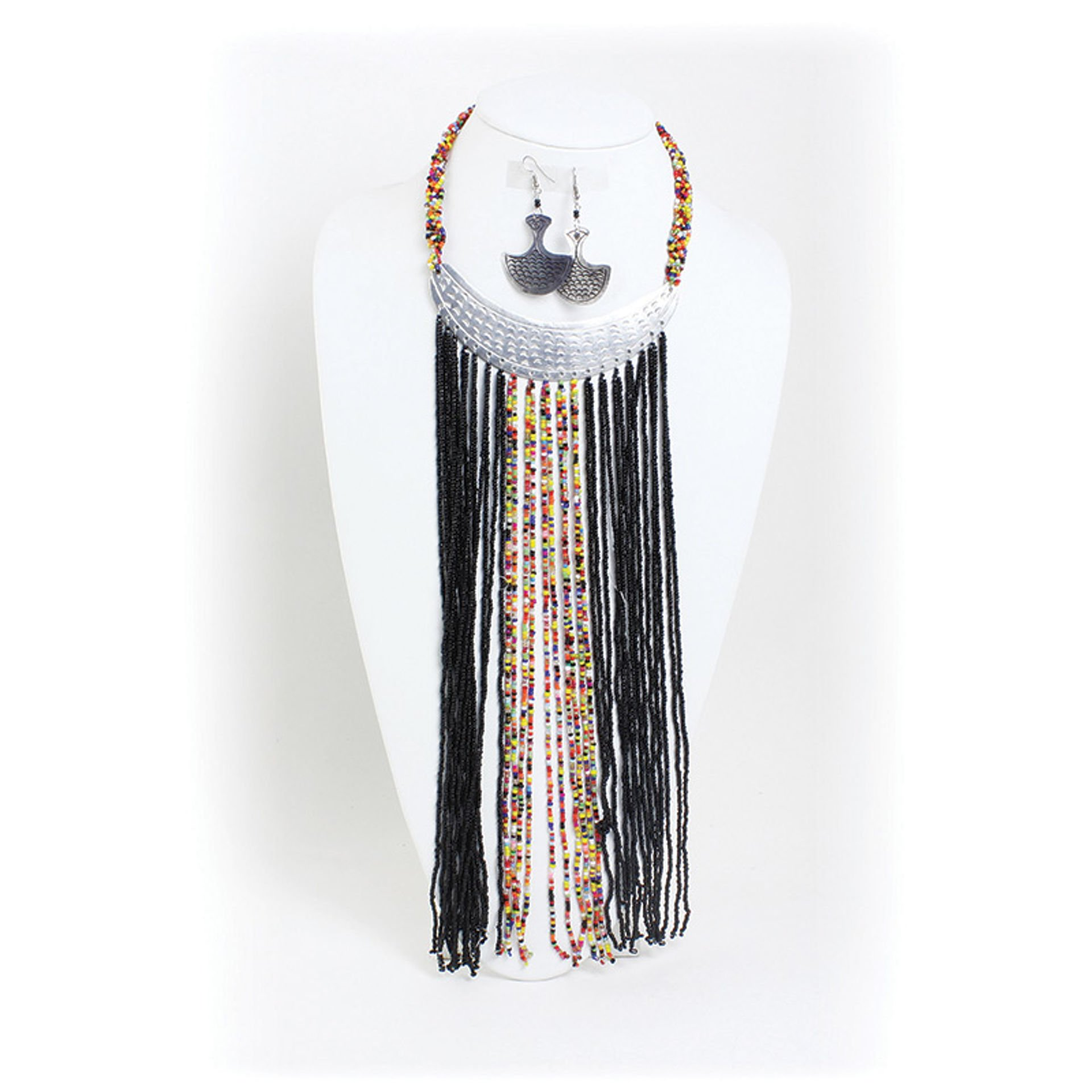 Picture of Black Maasai Silver Plate Necklace Set