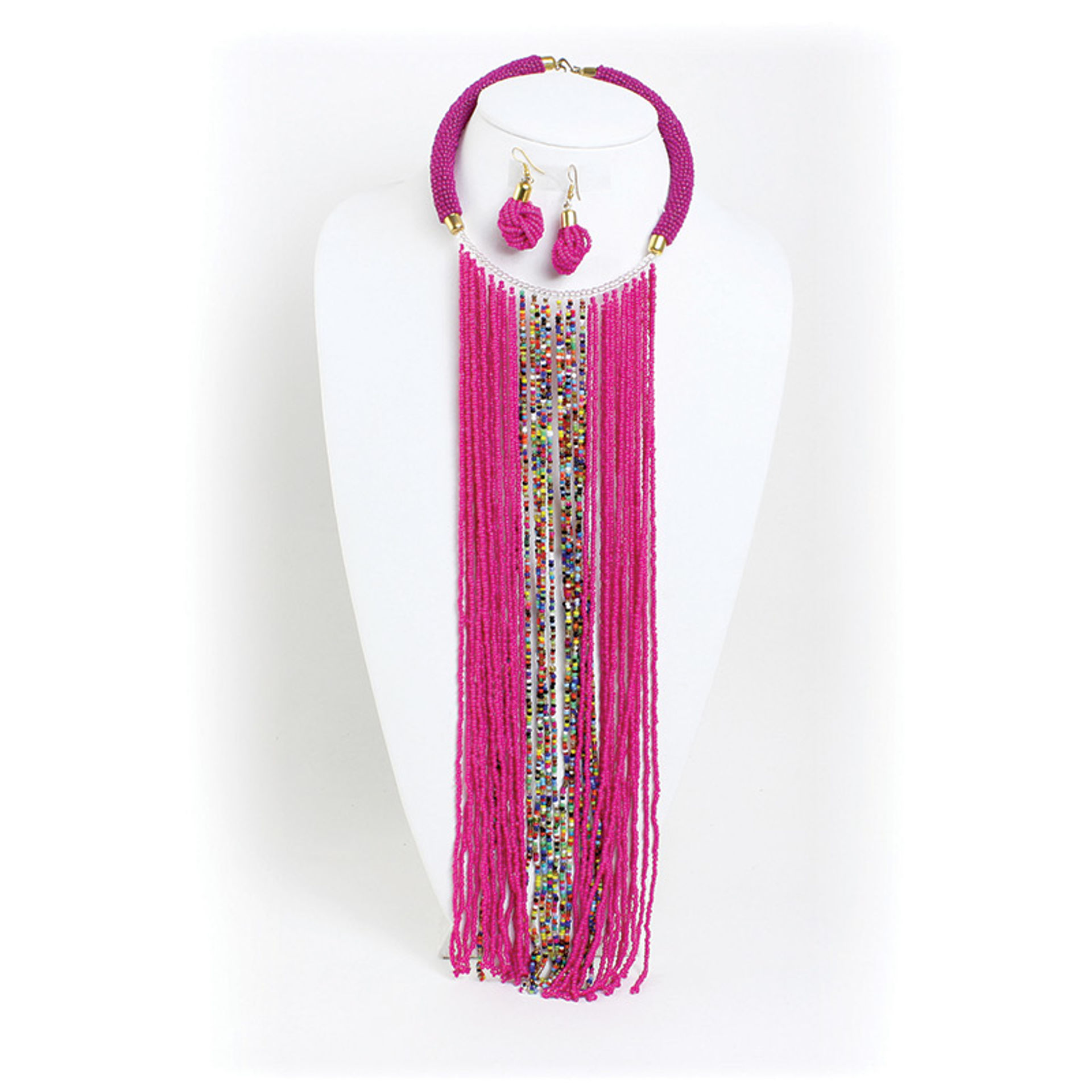 Picture of Pink Maasai Fringe Choker & Earrings