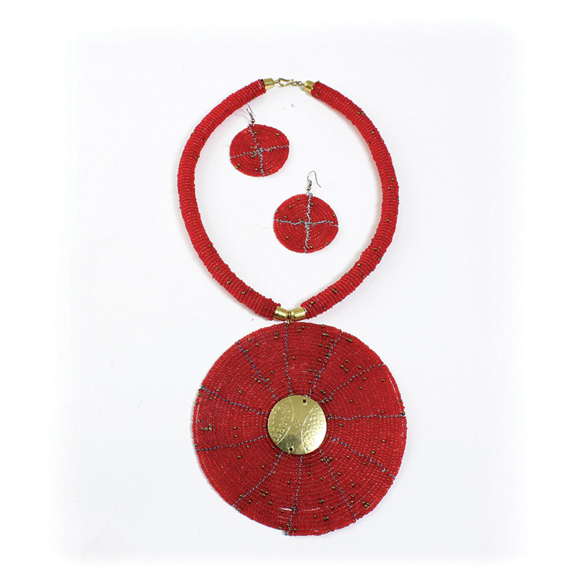 Picture of Maasai XL Pendant Necklace Set: Red
