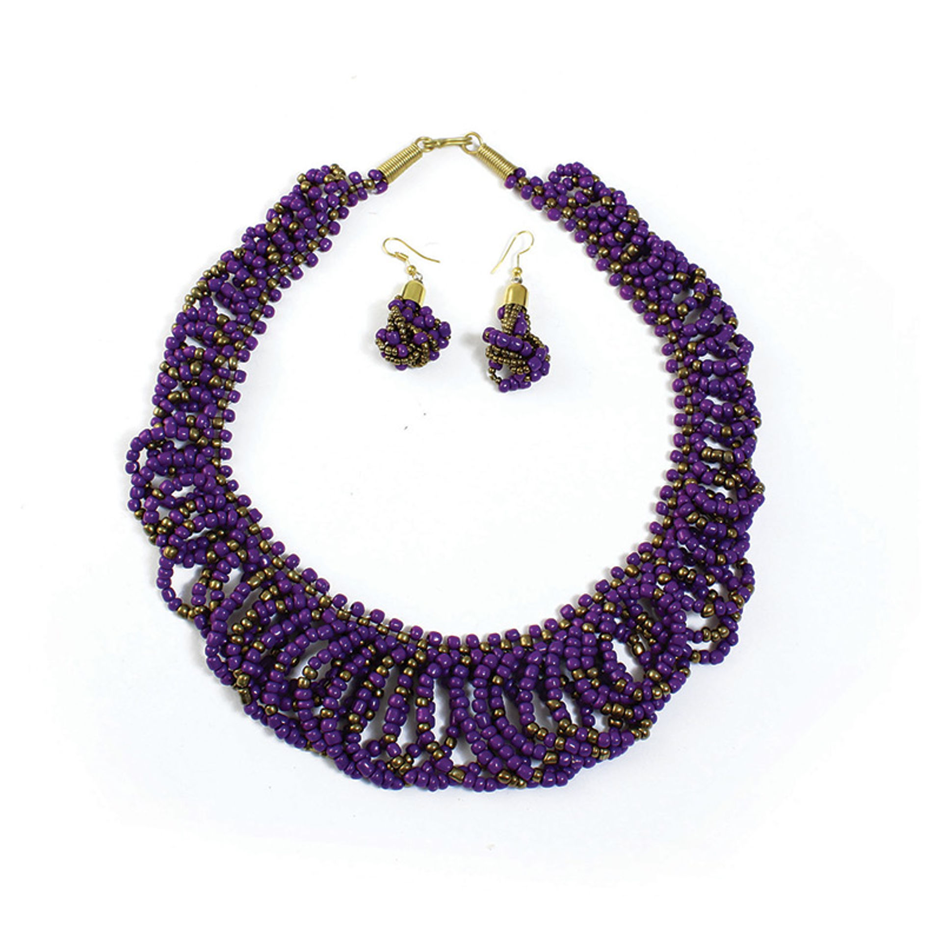 Picture of Purple/Gold Beaded Necklace & Earrings