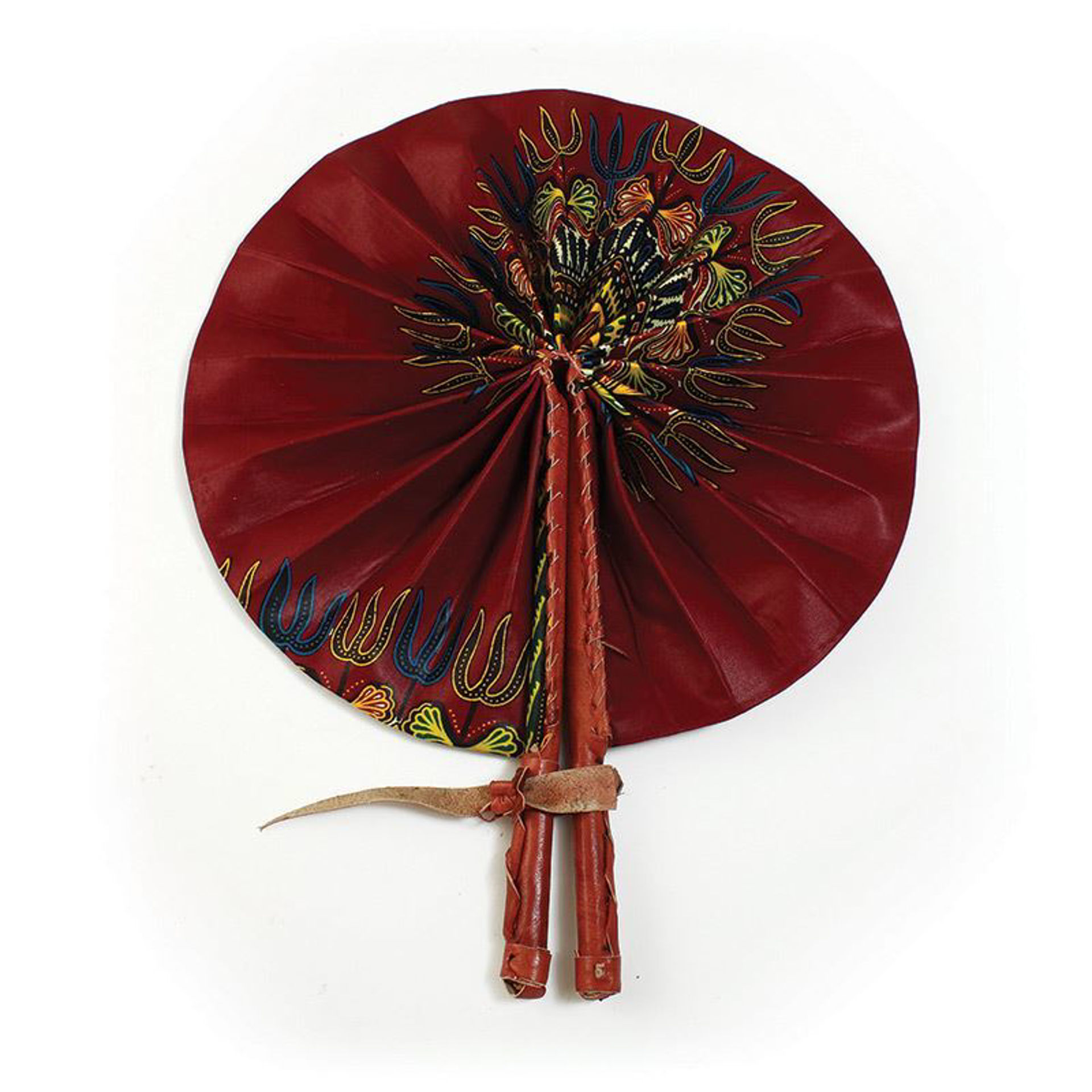 Picture of Traditional Burgundy Leather Folding Fan