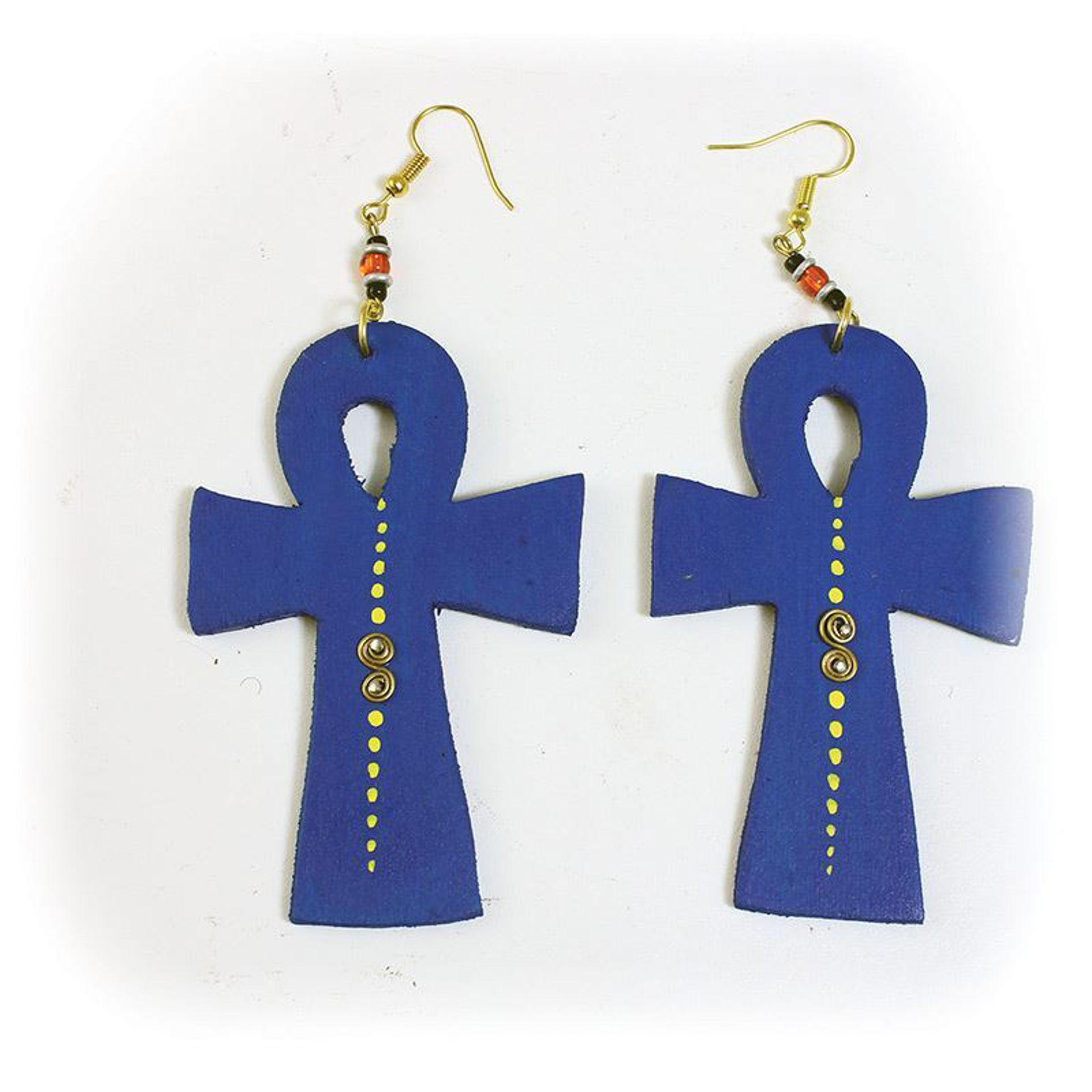 Picture of Blue Wood Ankh Earrings