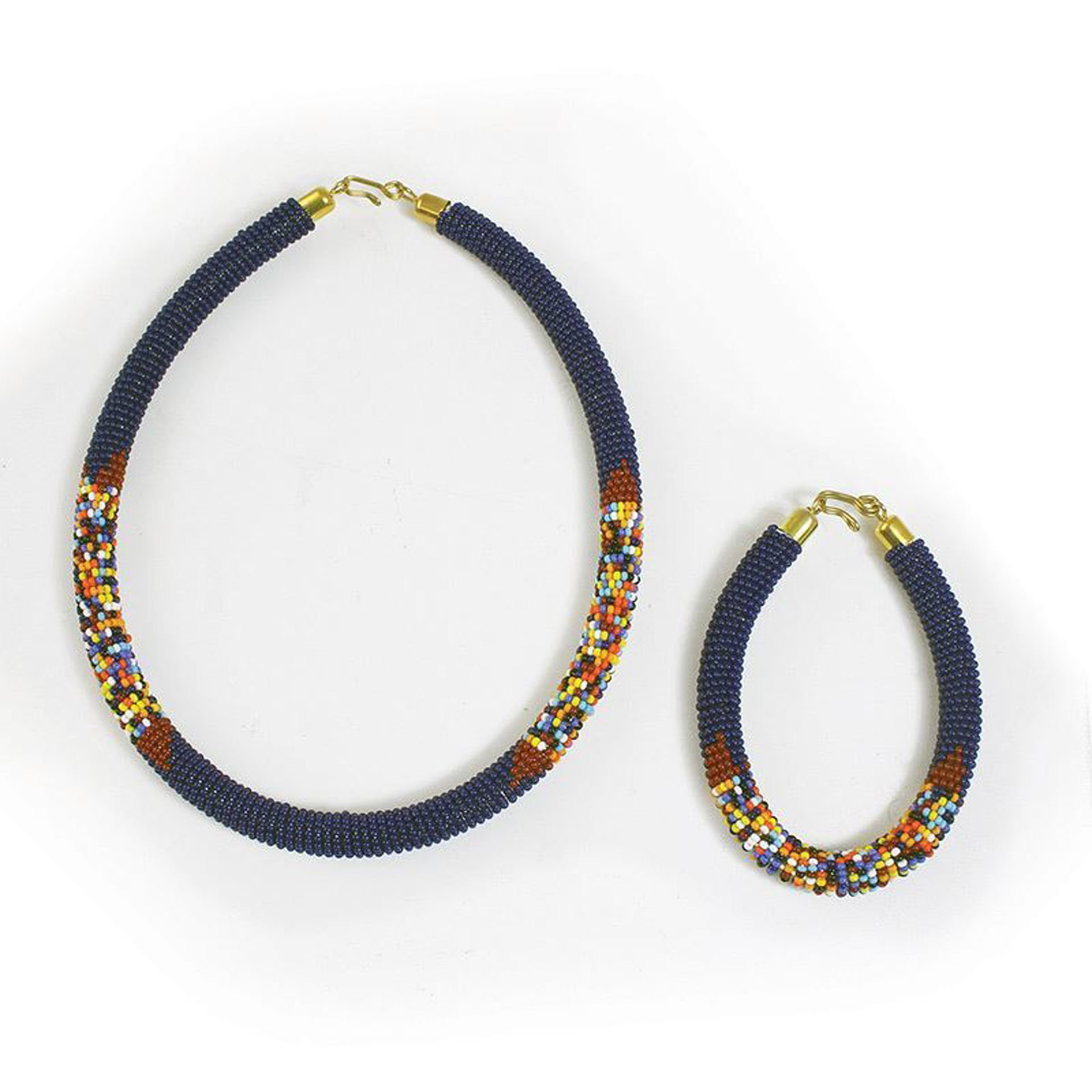 Picture of Beaded Maasai Jewelry Set: Navy