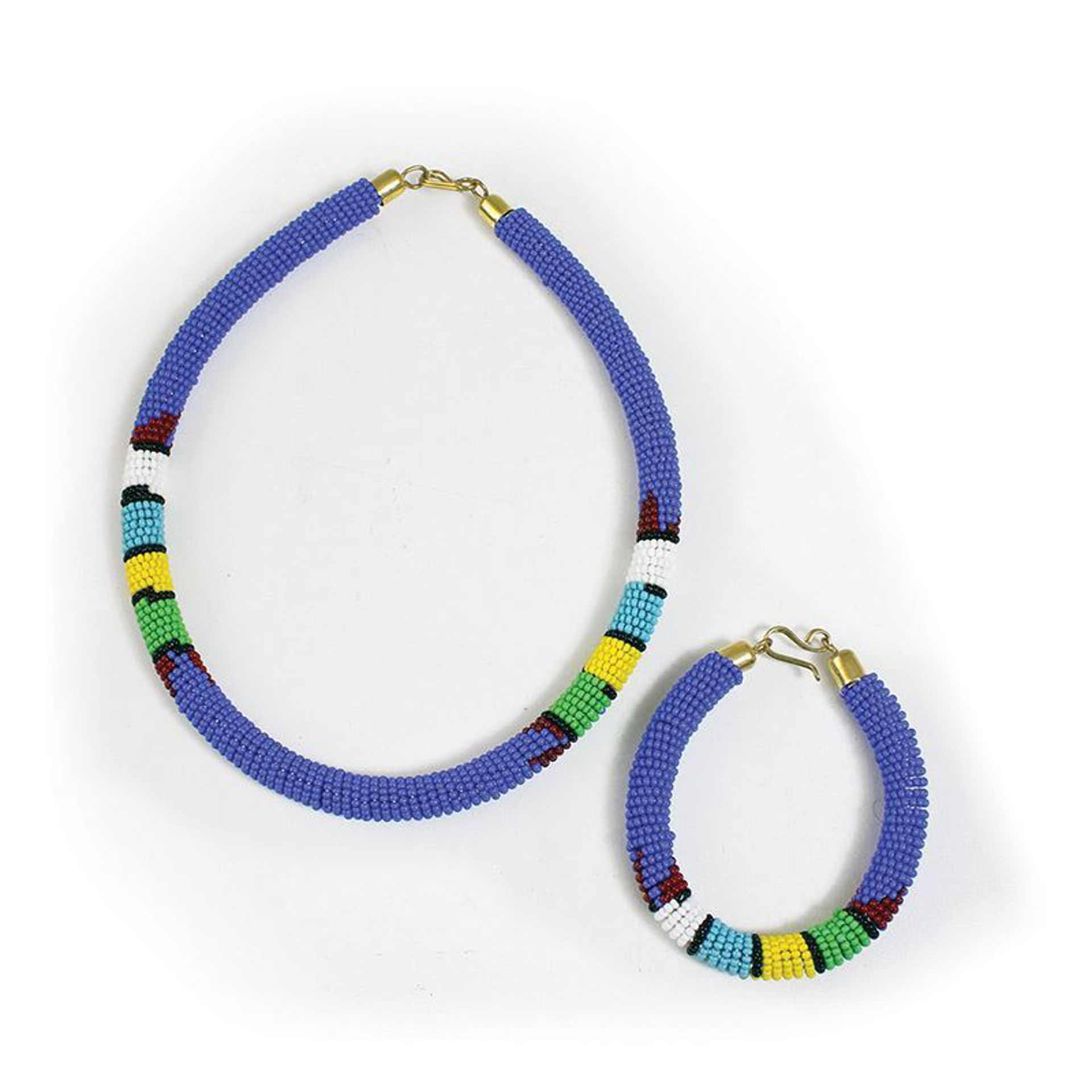 Picture of Beaded Maasai Jewelry Set: Light Blue