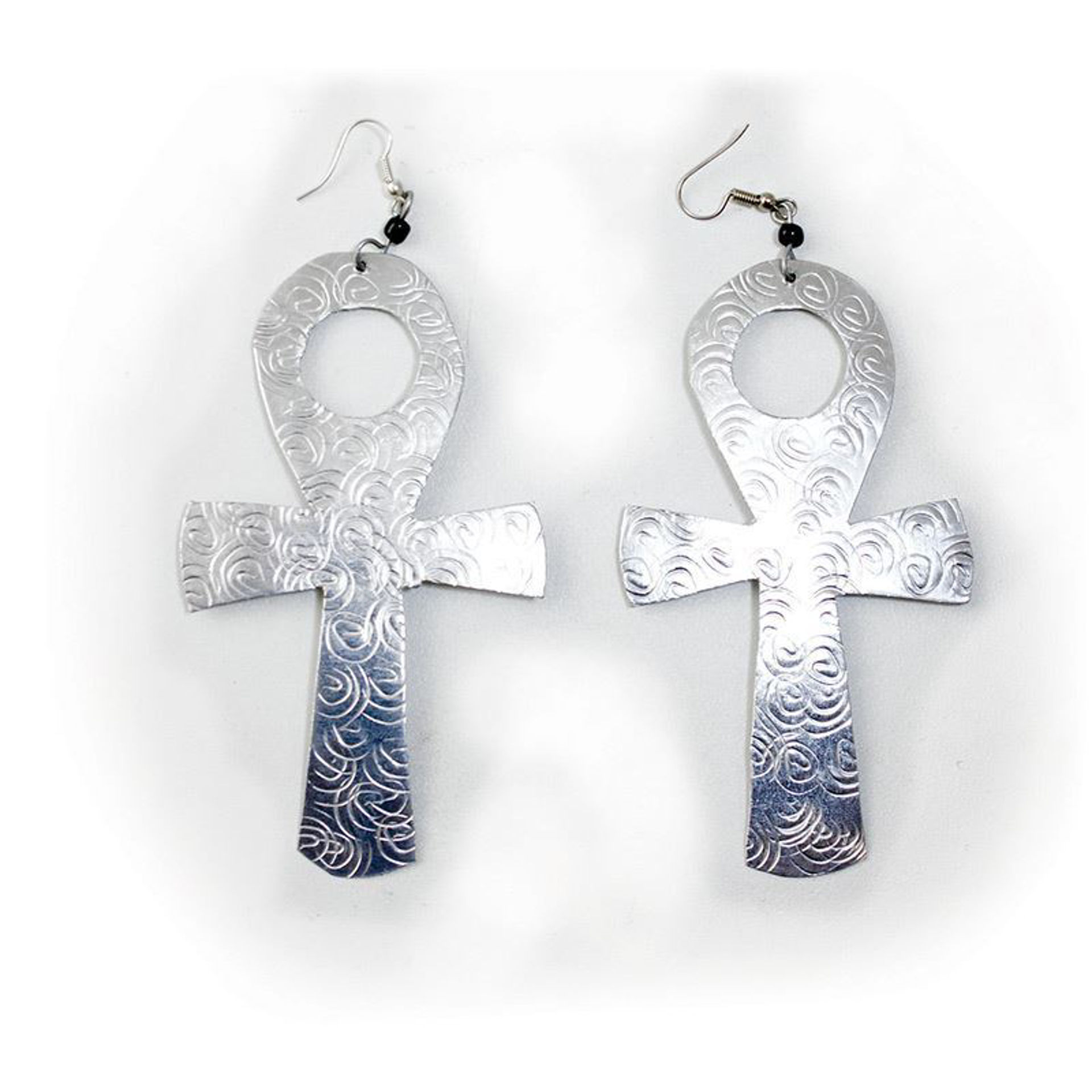 Picture of Over-Sized Silver Earrings: Ankh