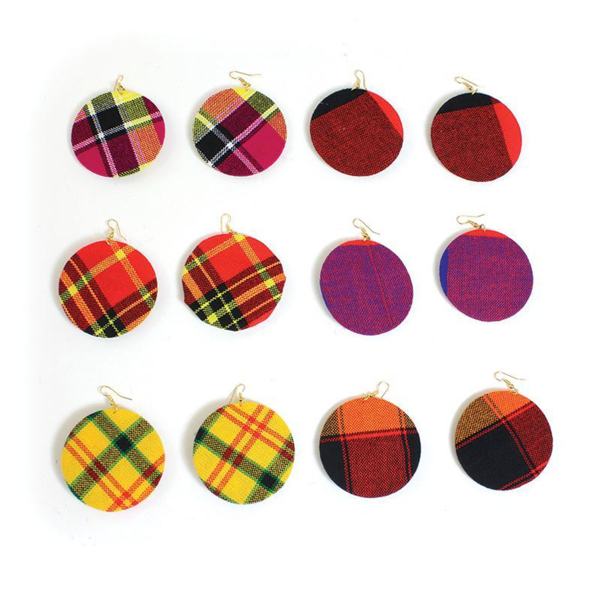 Picture of Set Of 6 Maasai Shuka Cloth Earrings