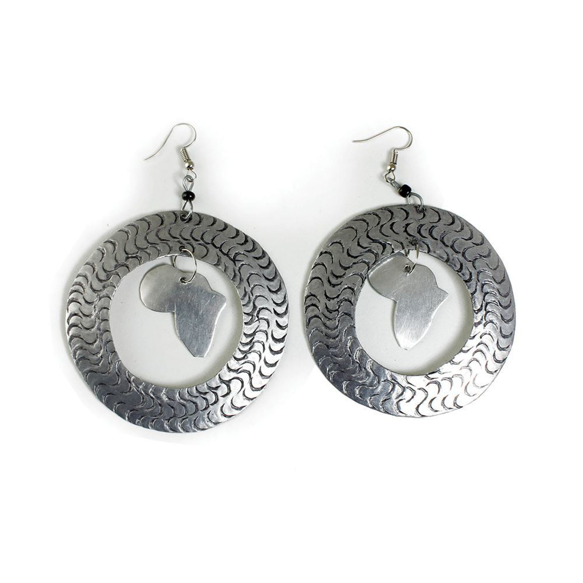 Picture of Silver Hoop Africa Map Earrings