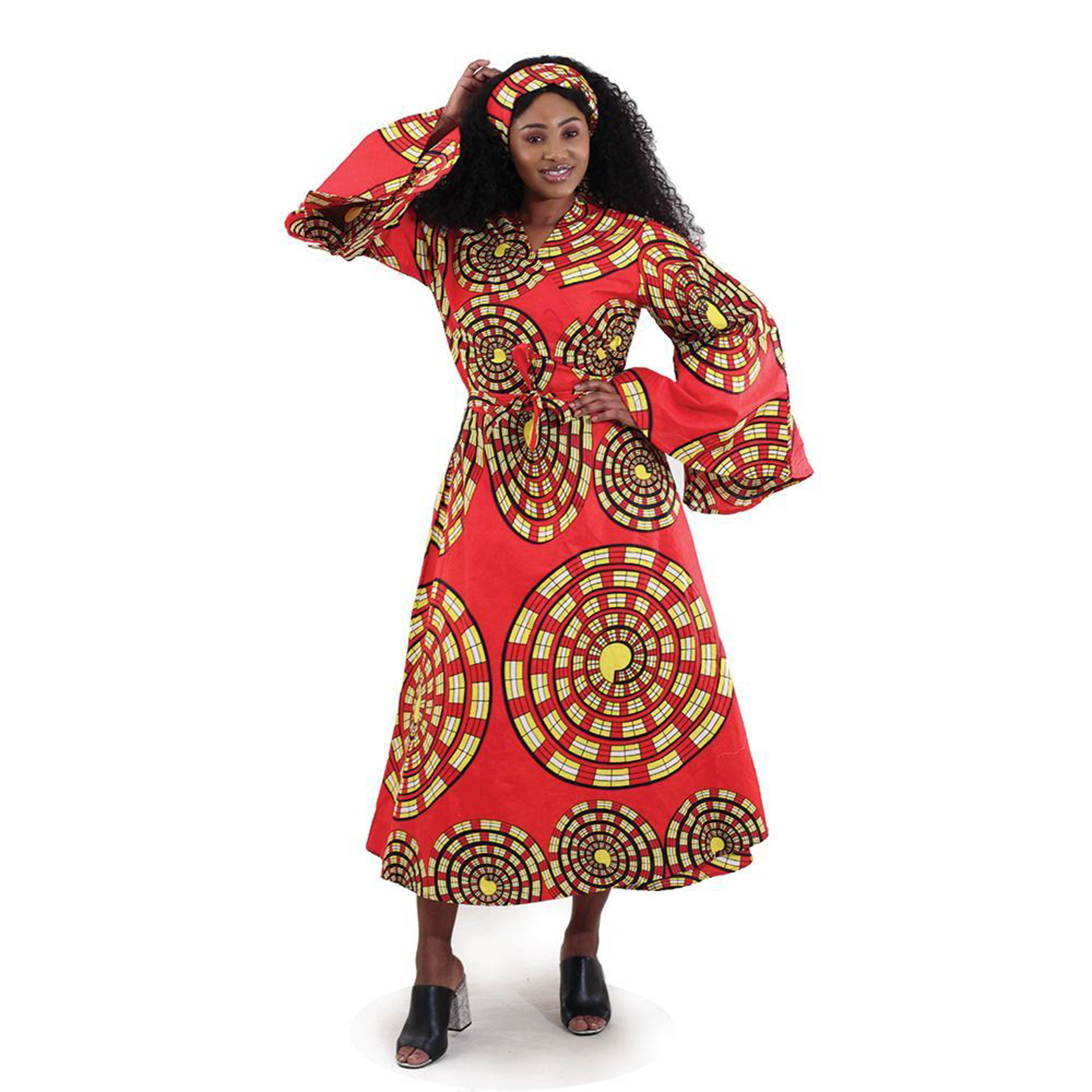 Picture of Spiral Print Wrap Dress: Red