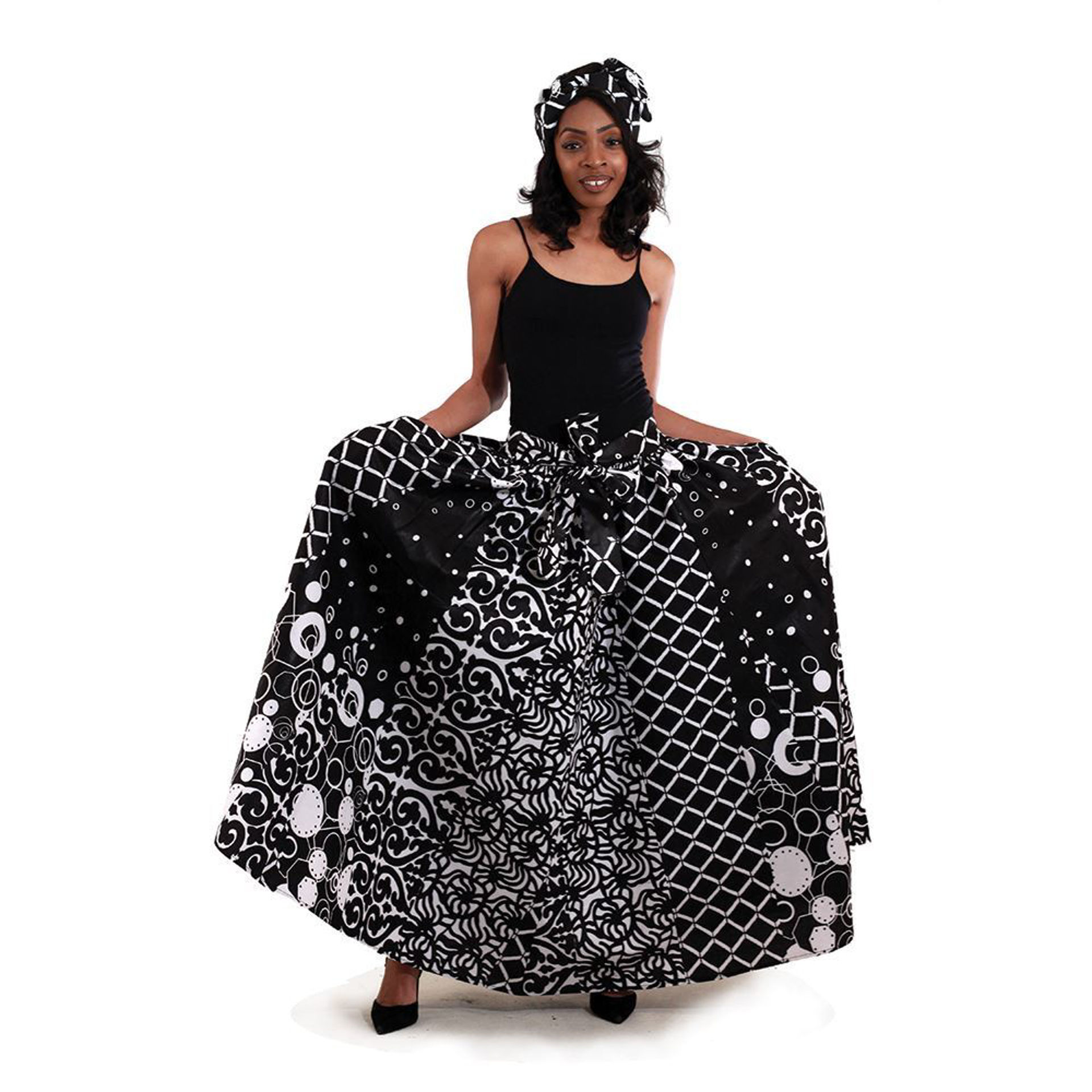 Picture of Black & White Pleated Maxi Skirt