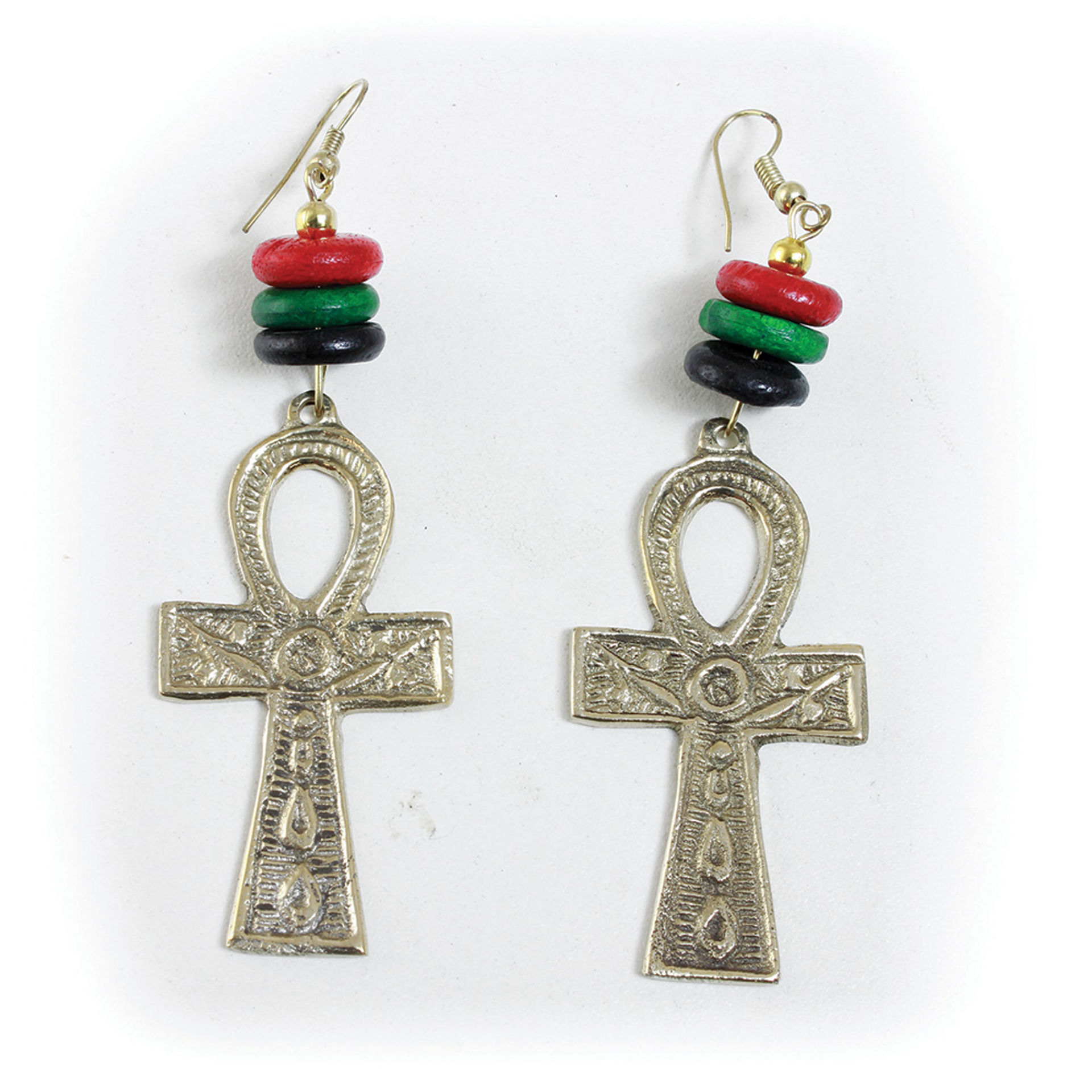 Picture of Golden Brass Ankh Earrings