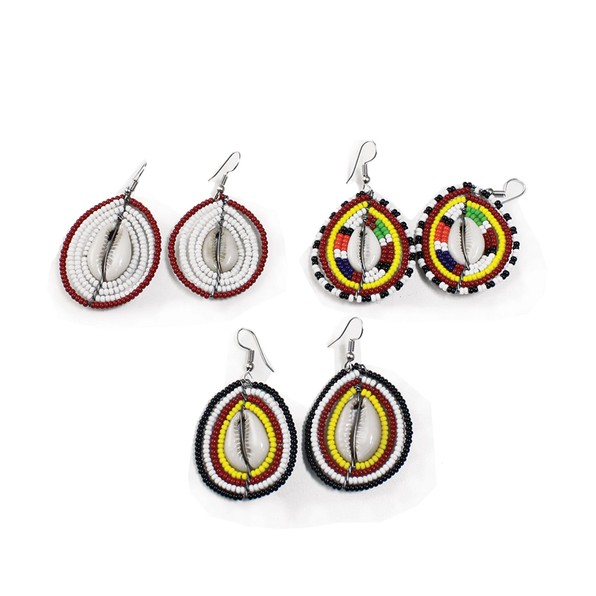 Picture of Set Of 3 Maasai Bead Cowrie Earrings