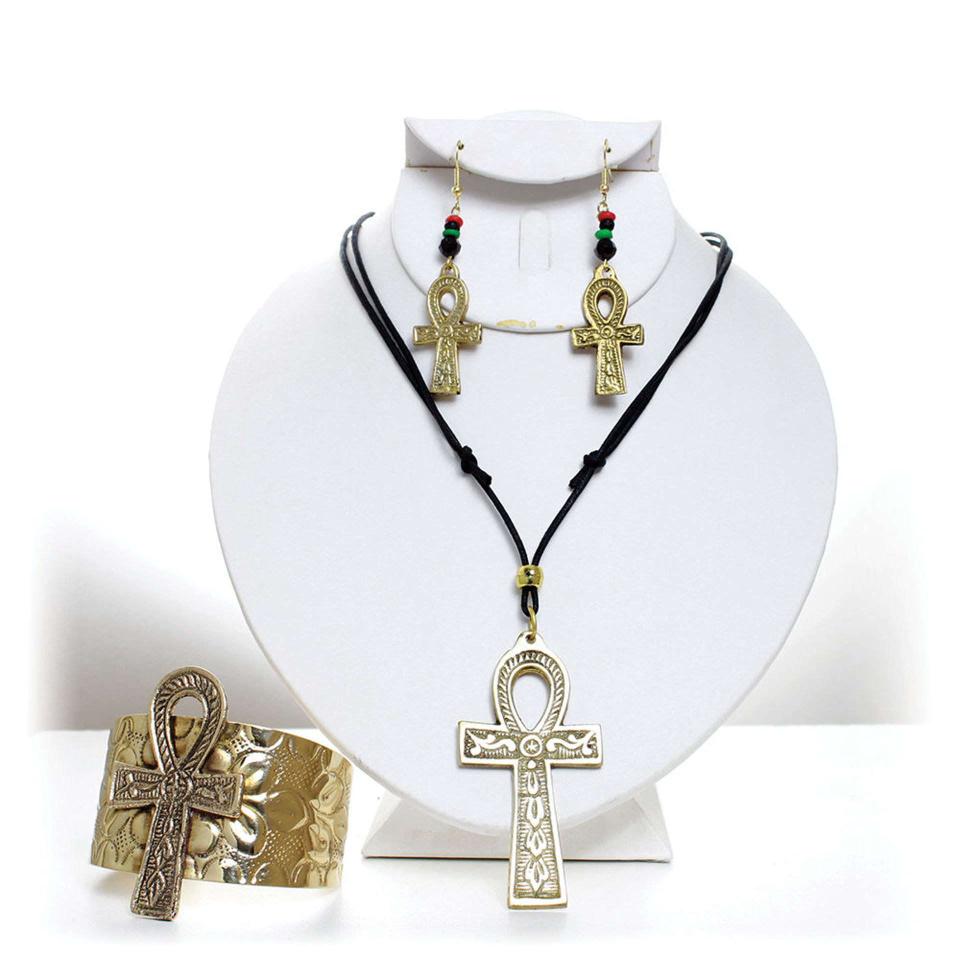 Picture of Gold Ankh Jewelry Set