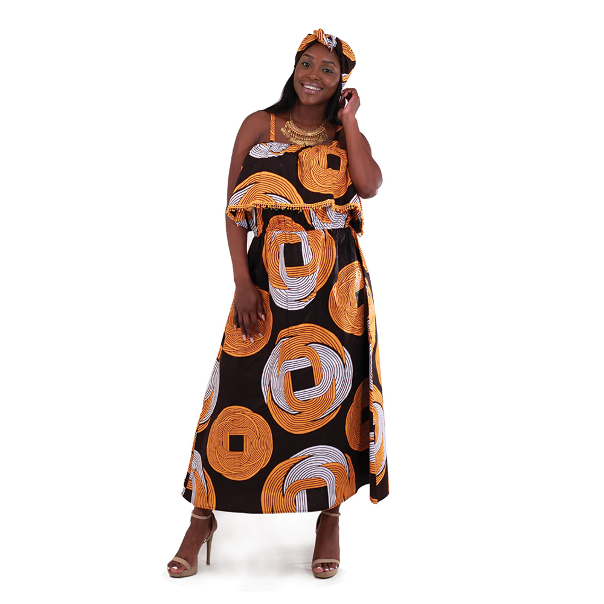 Picture of African Print Long Dress: Black
