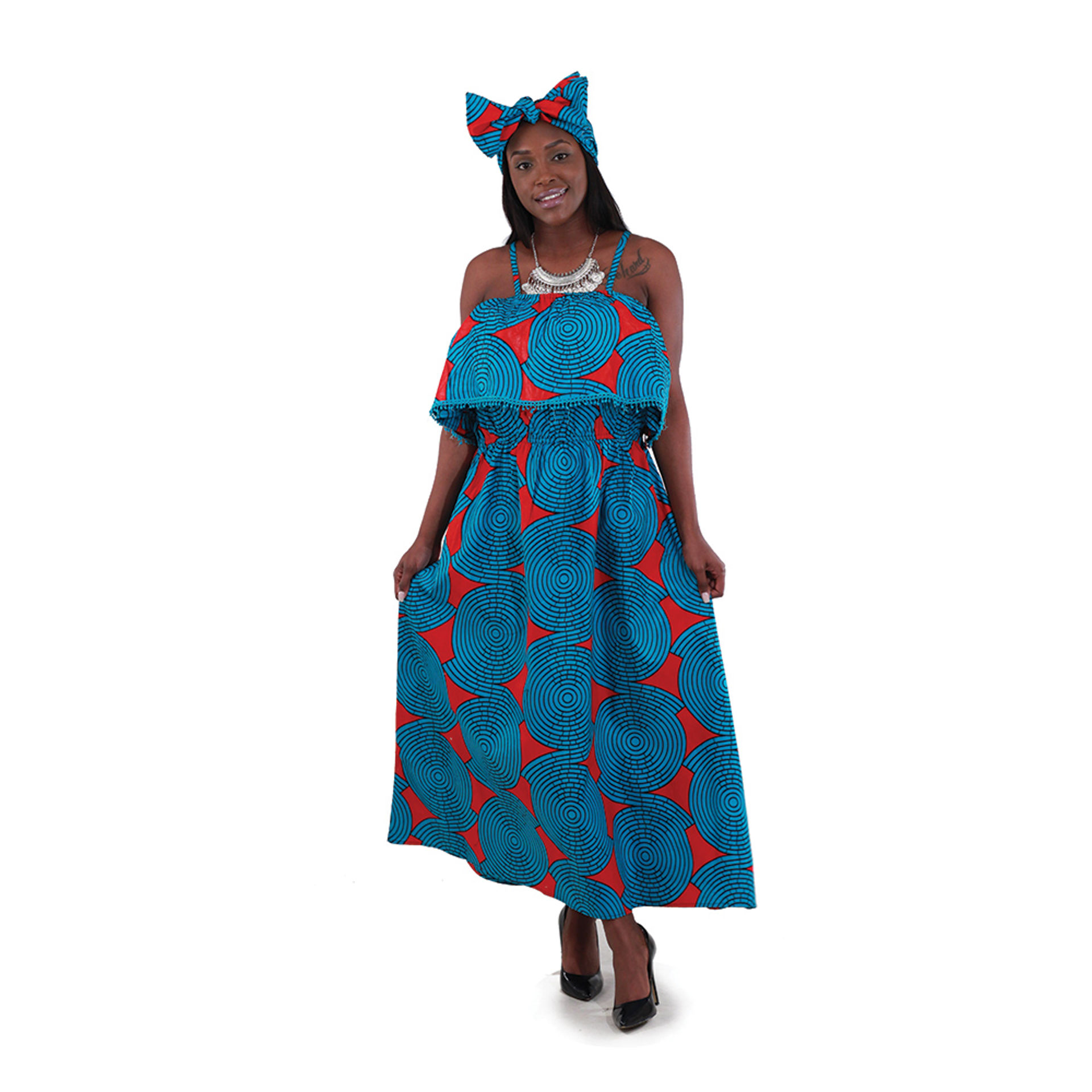 Picture of African Print Long Dress: Turquoise