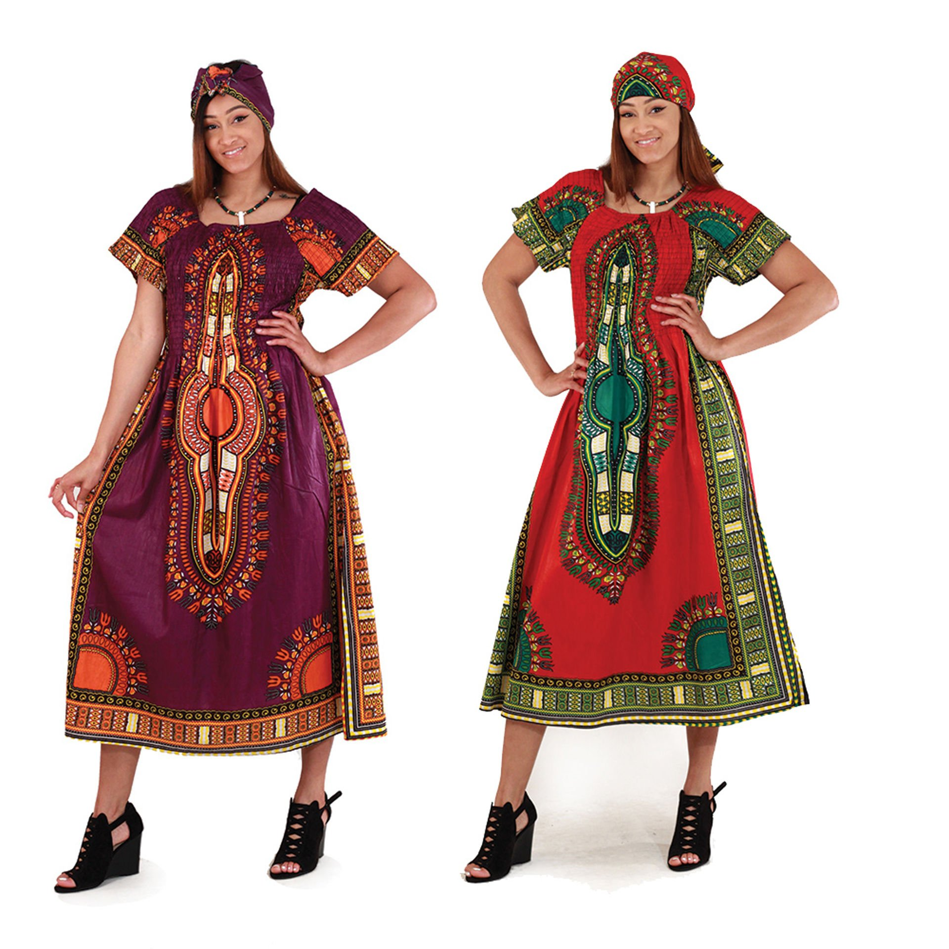 Picture of Traditional Print Elastic Dress