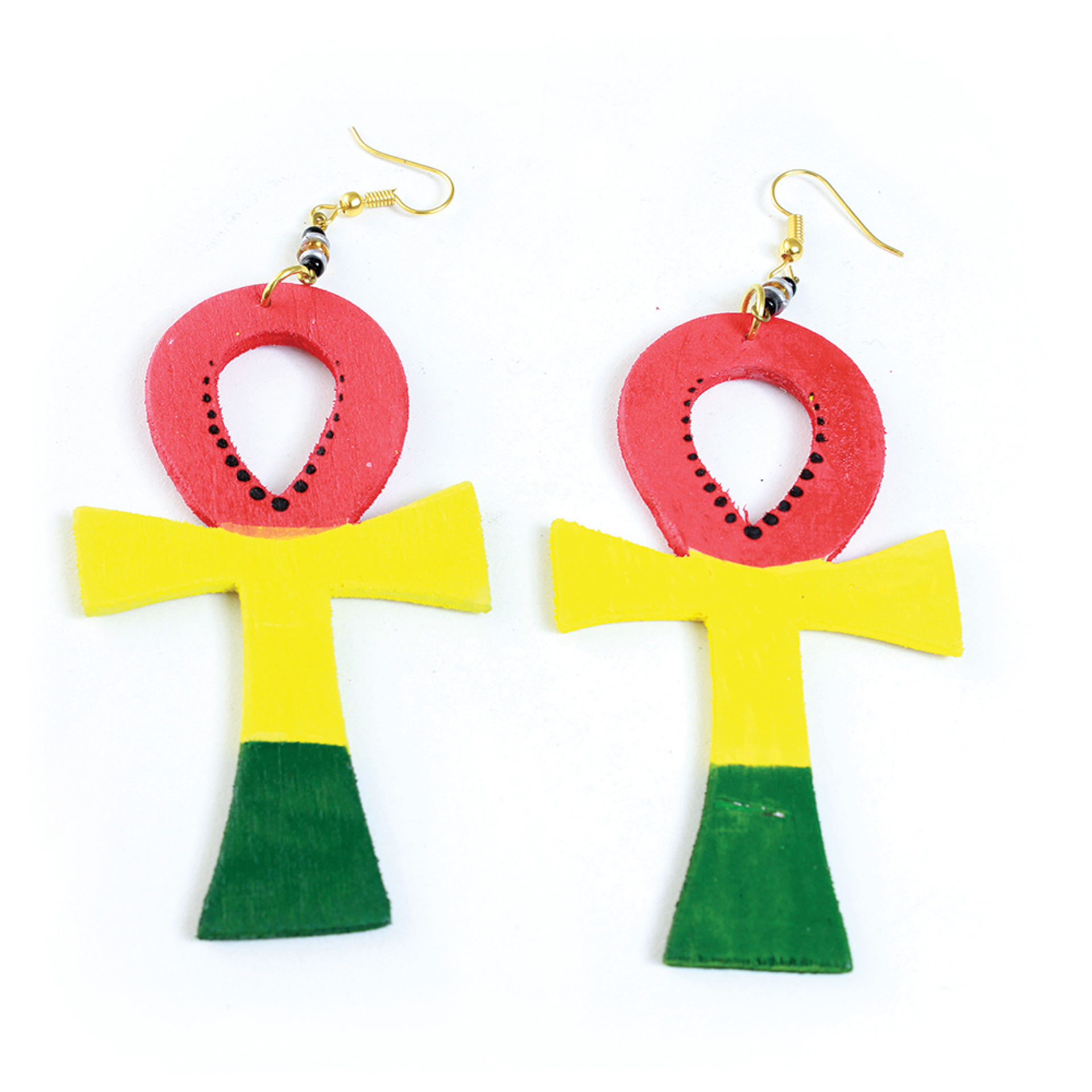 Picture of Wooden Rasta Ankh Earrings