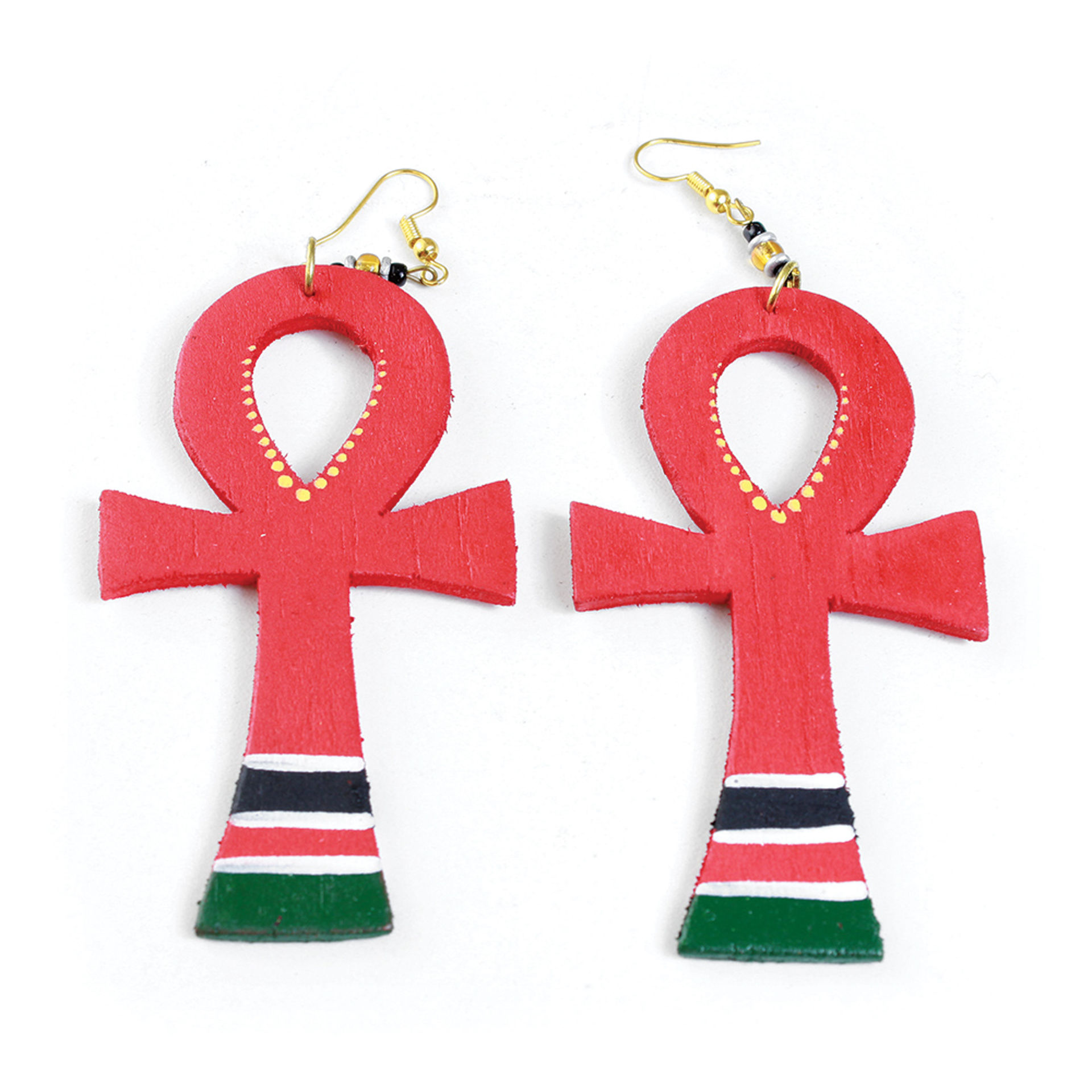 Picture of Wooden Afro American Ankh Earrings