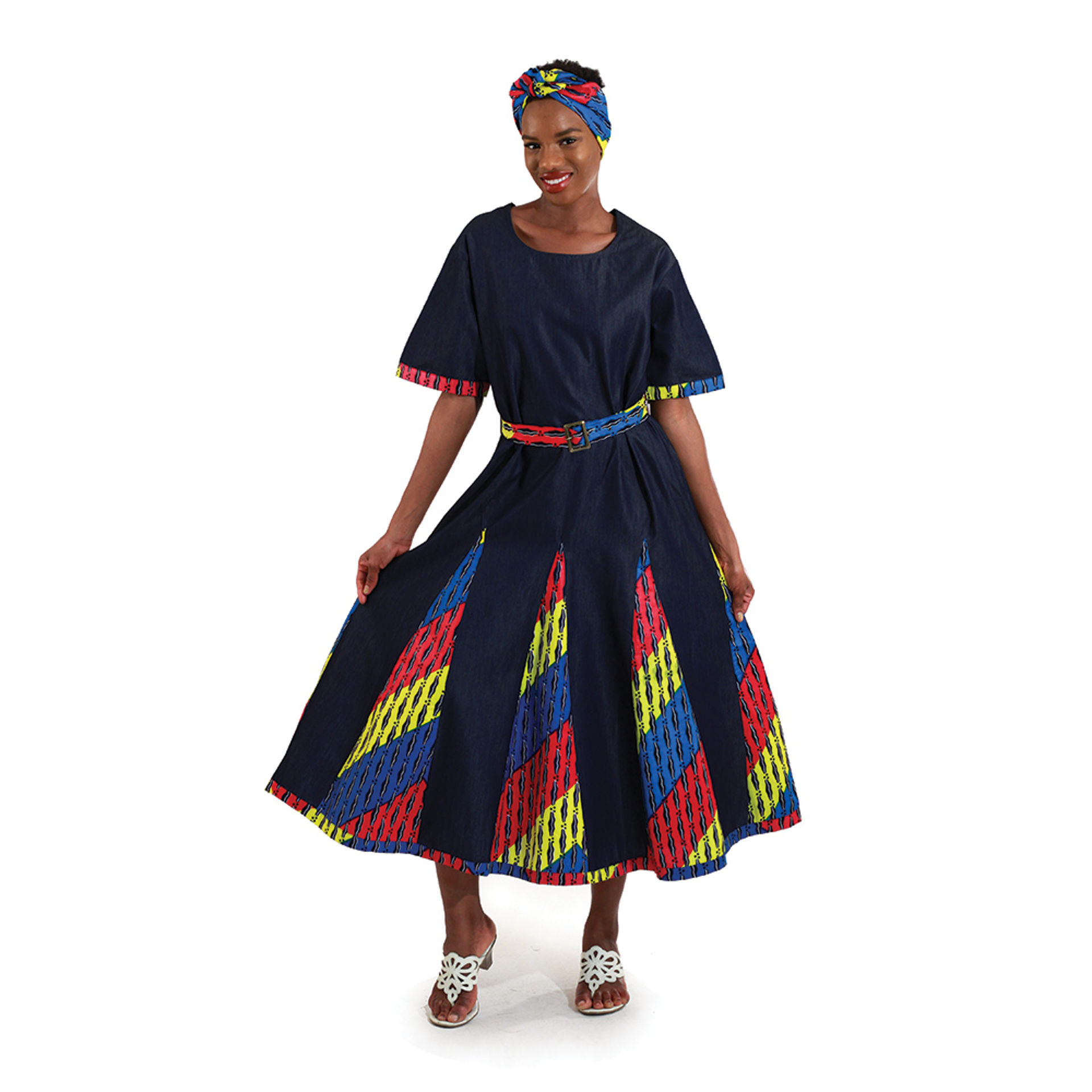 Picture of Denim & African Print Dress