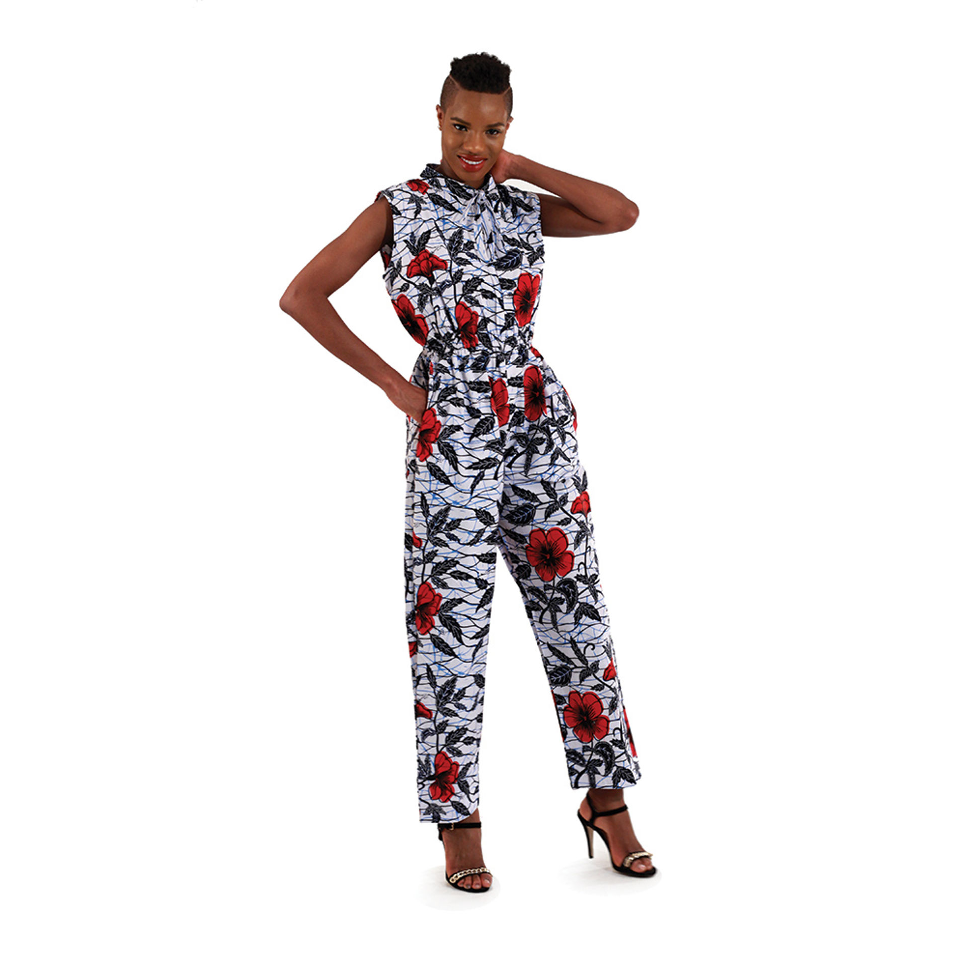 Picture of White Flower Print Sleeveless Jumpsuit