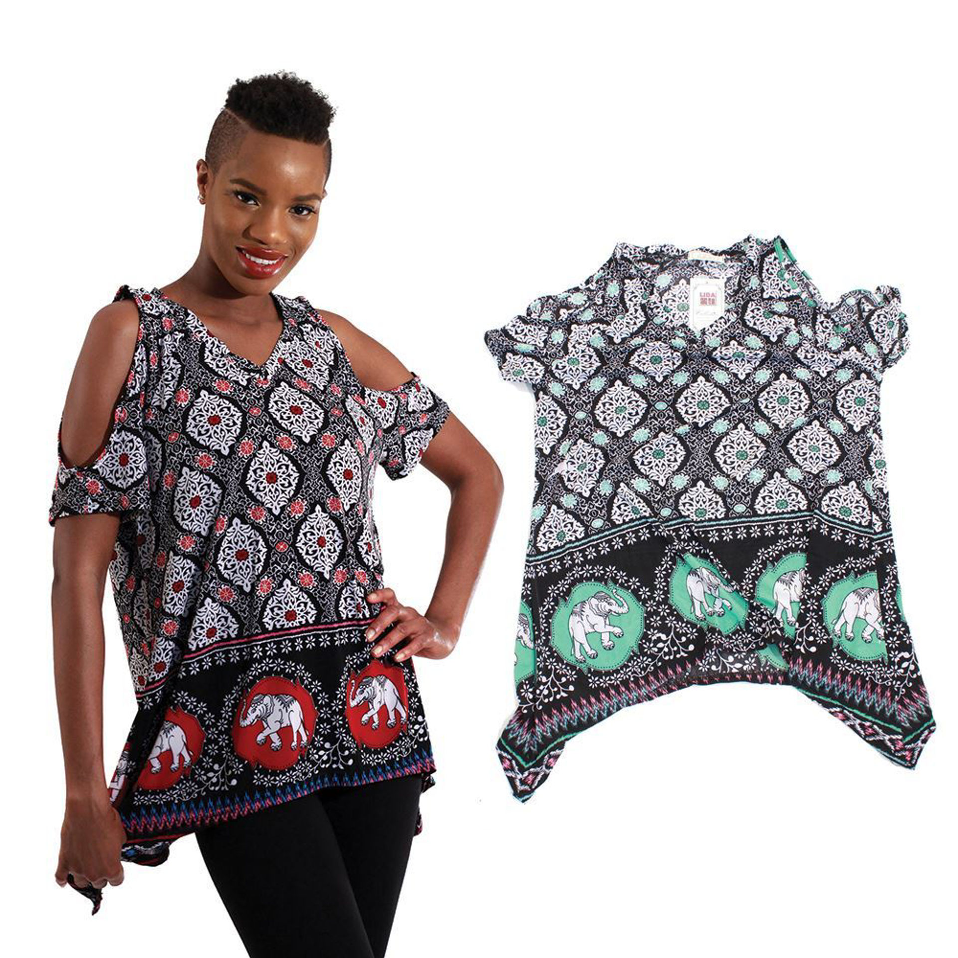 Picture of Cold Shoulder Elephant Top